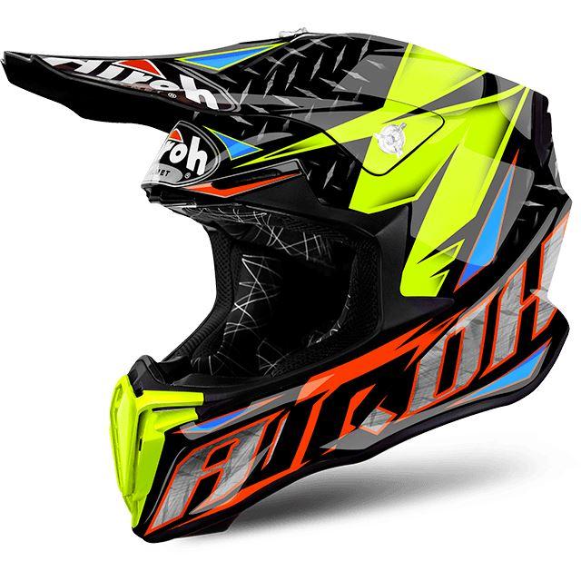 Airoh Twist Hypoallergenic Off Road Extra Wide Visiom Motorcycle Bike Helmet