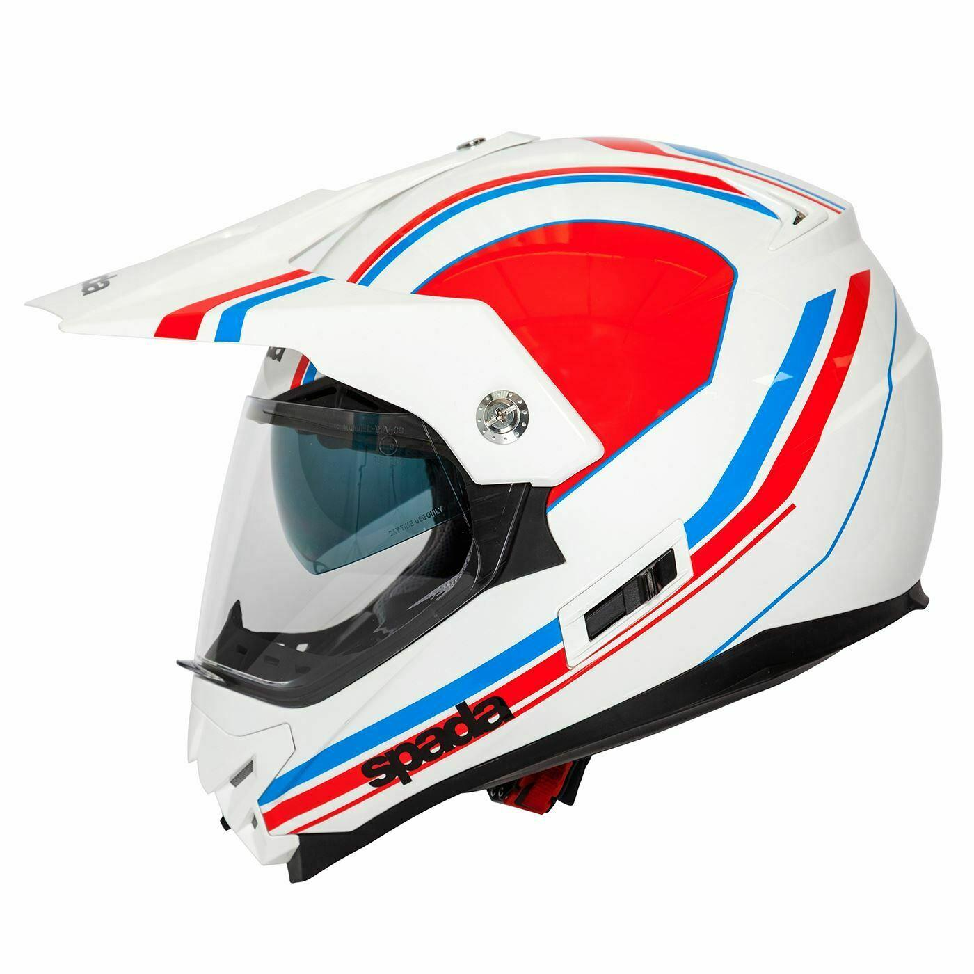Spada Intrepid Helmet Full Face Off Road Adventure Motorcycle Bike Sun Visor