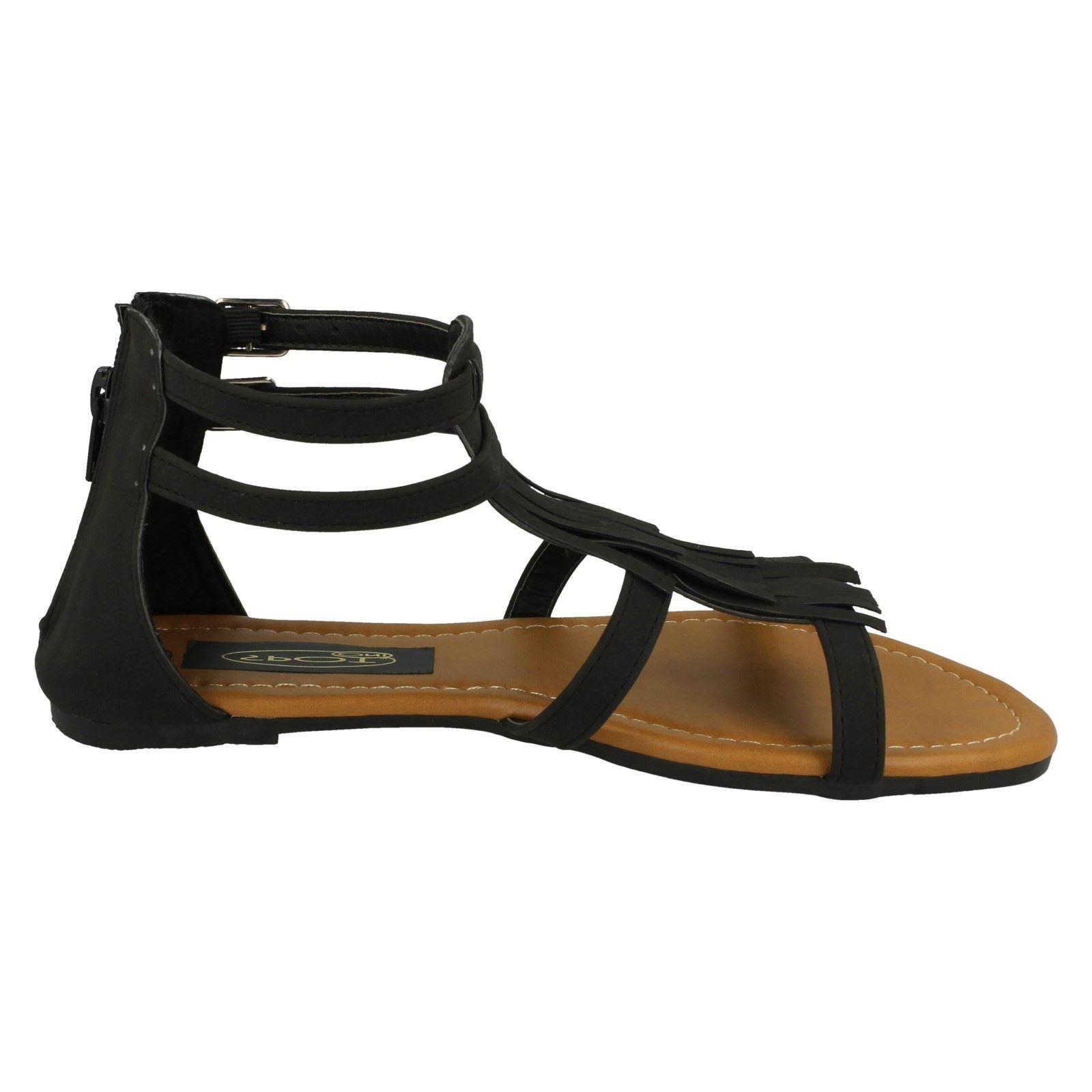 Spot On Ladies Tassle Detail Sandals