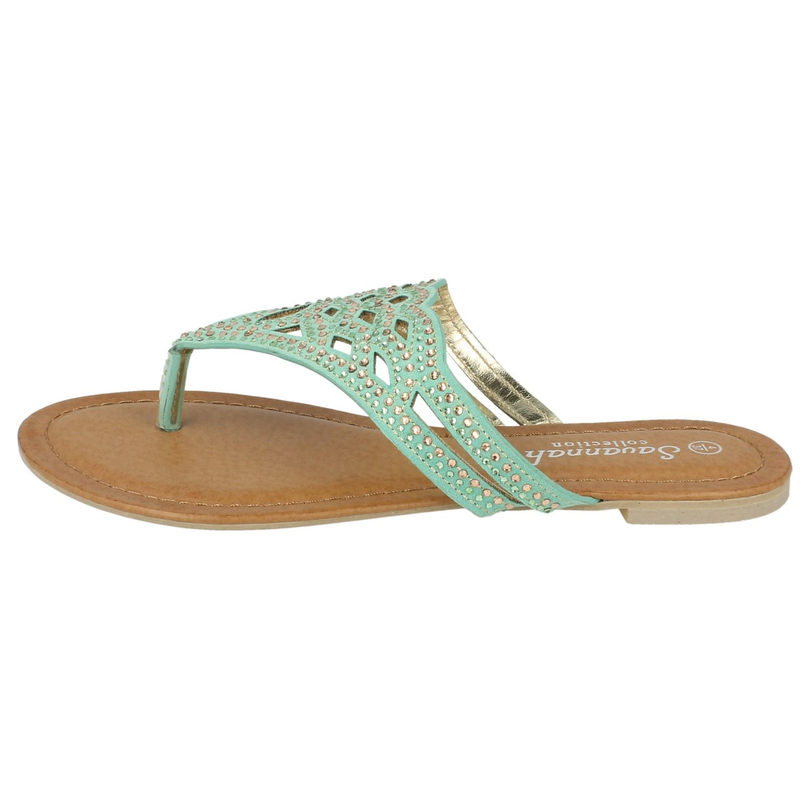 Ladies Savannah Jewelled Toe Post /'Sandals/'