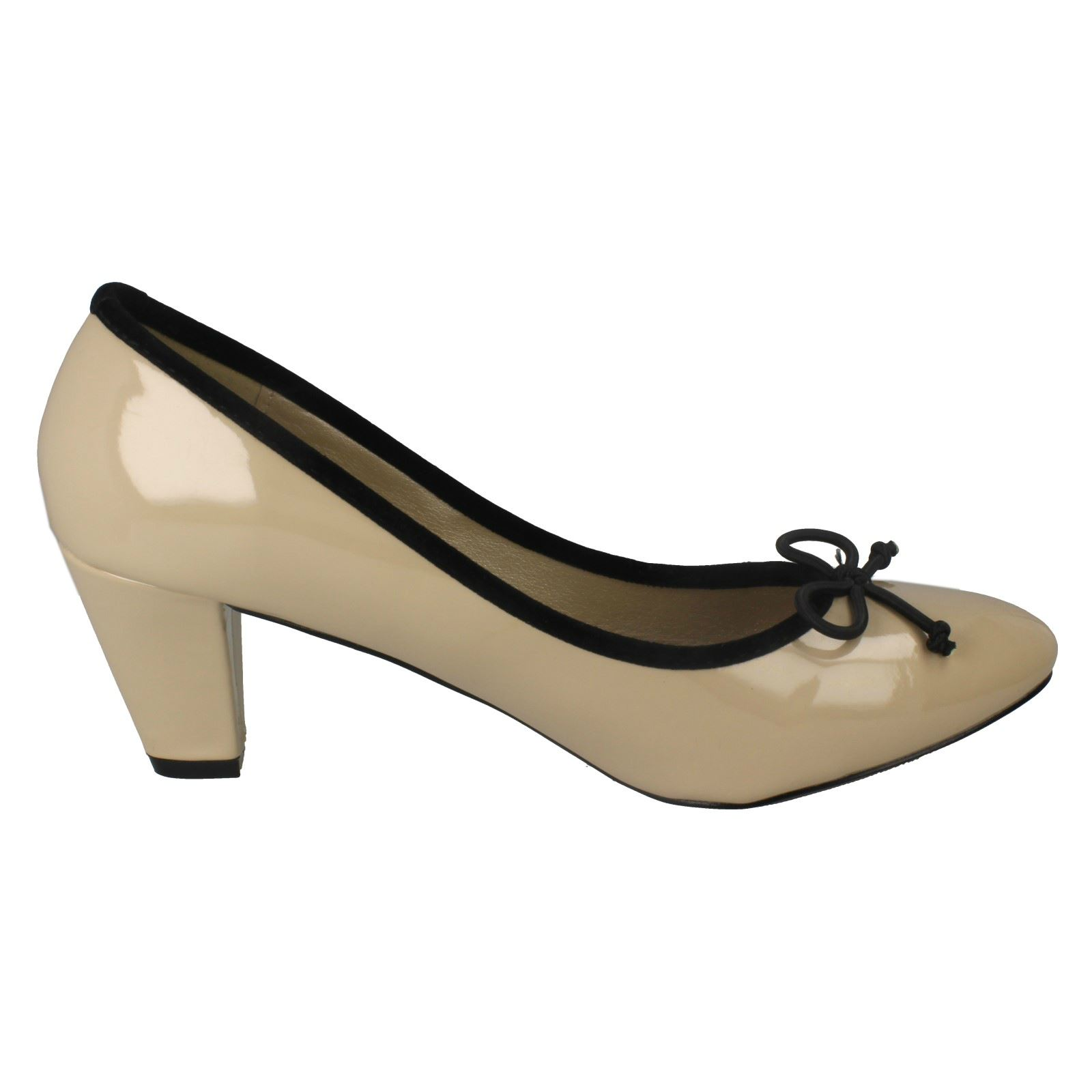Ladies Spot On Low Heel Court Shoes With /'Bow Trim/'
