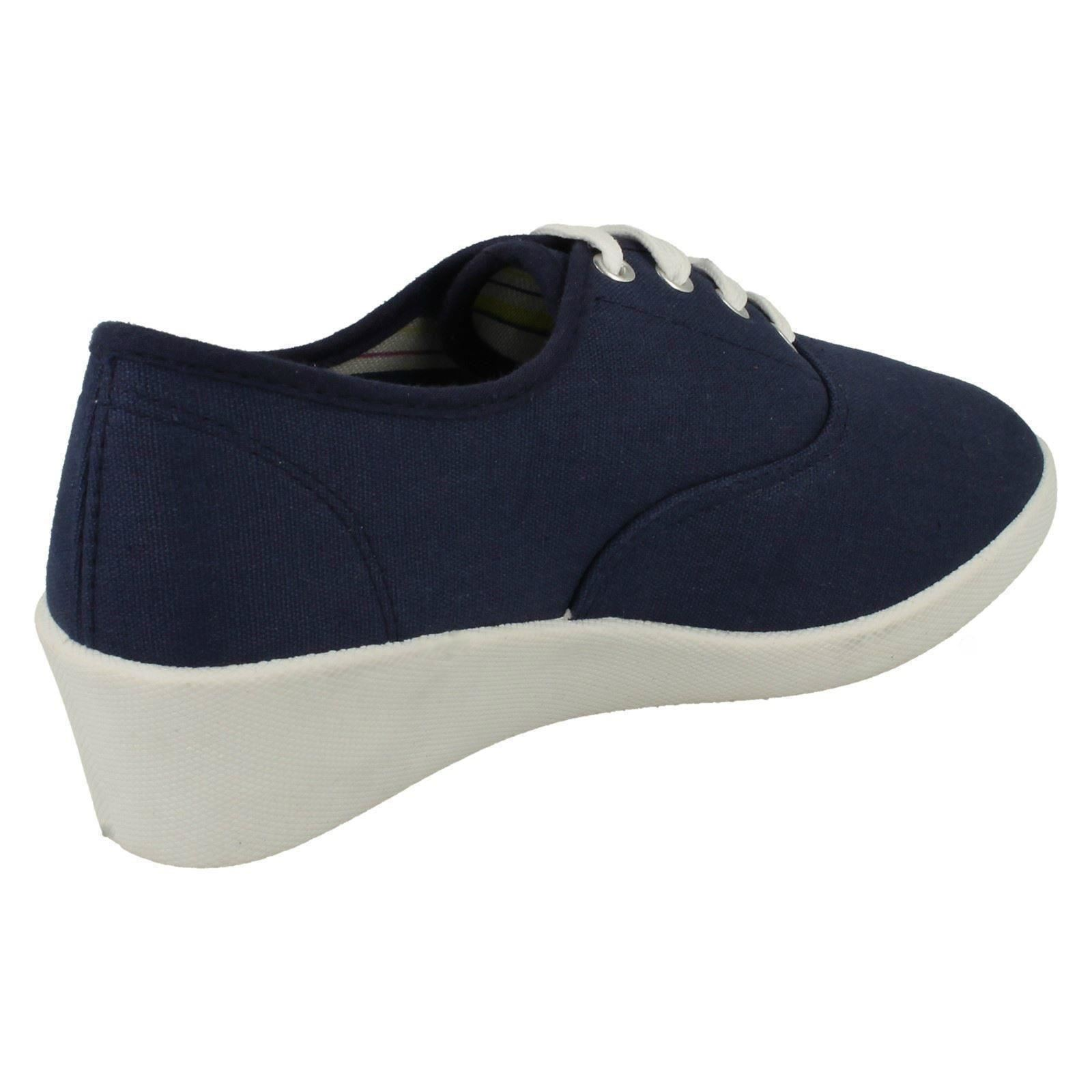 Ladies Spot On Canvas Wedge Shoes