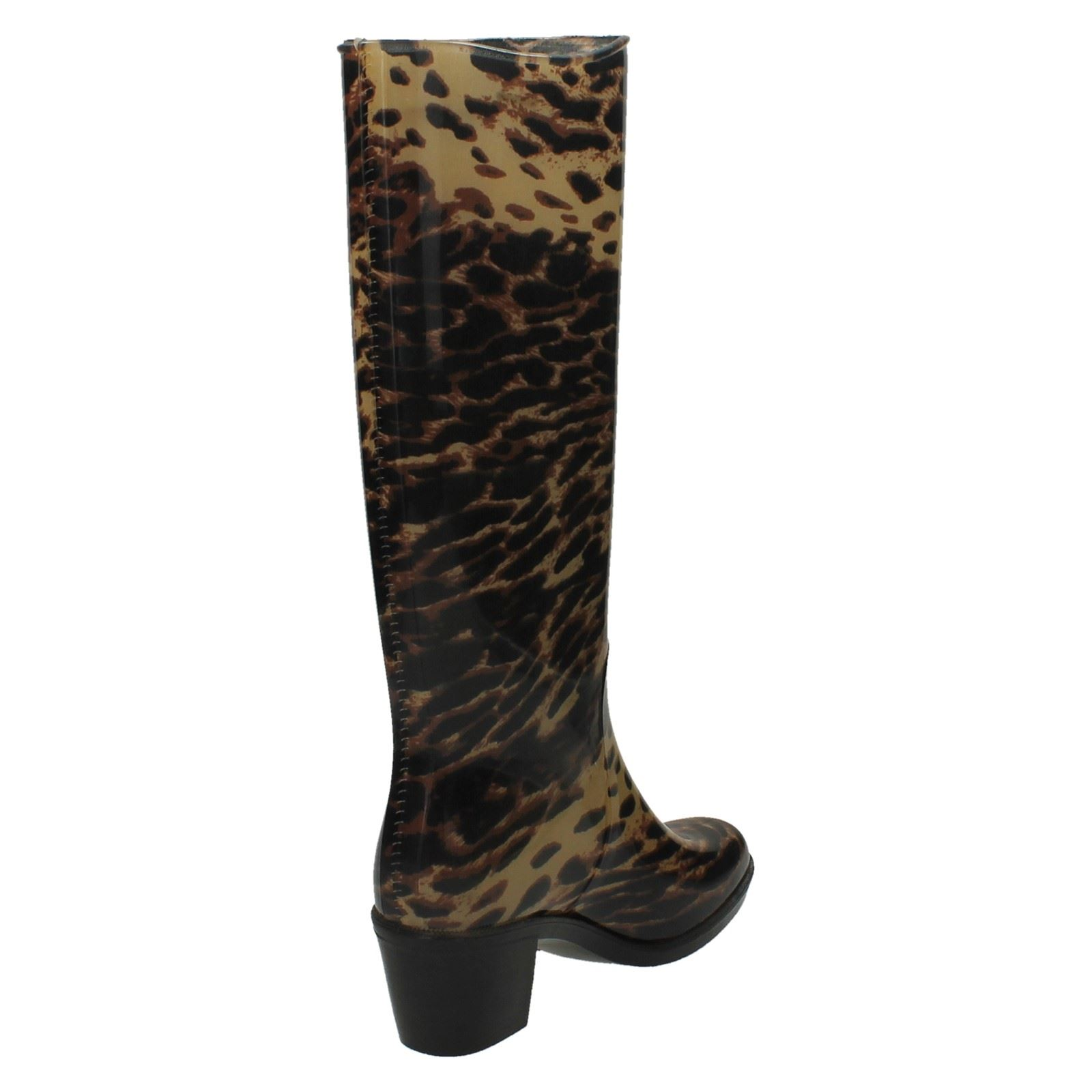 Ladies Spot On Leopard Print Heeled Wellington Boots