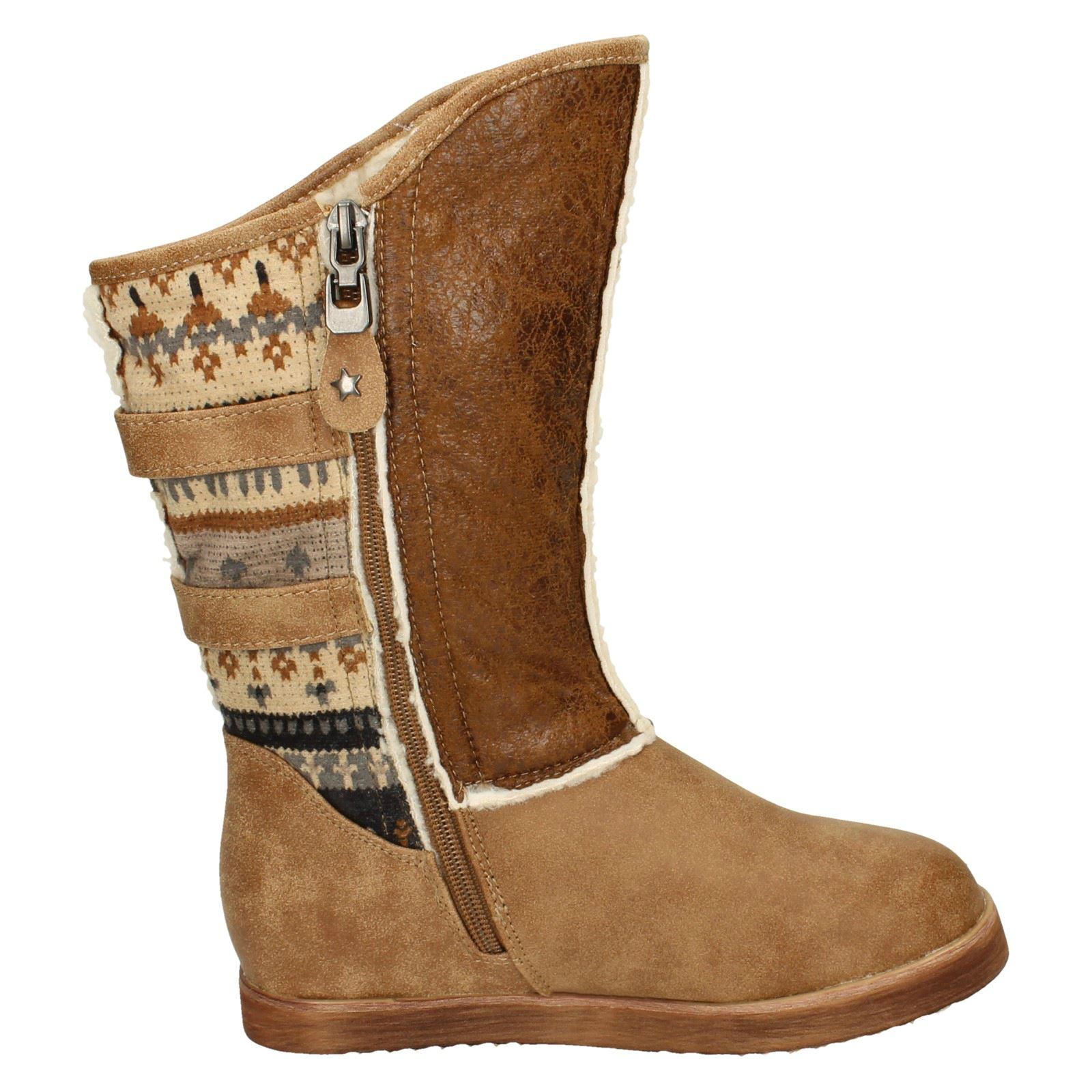 Girls Spot On Zip Up Boots With Fleece Trim