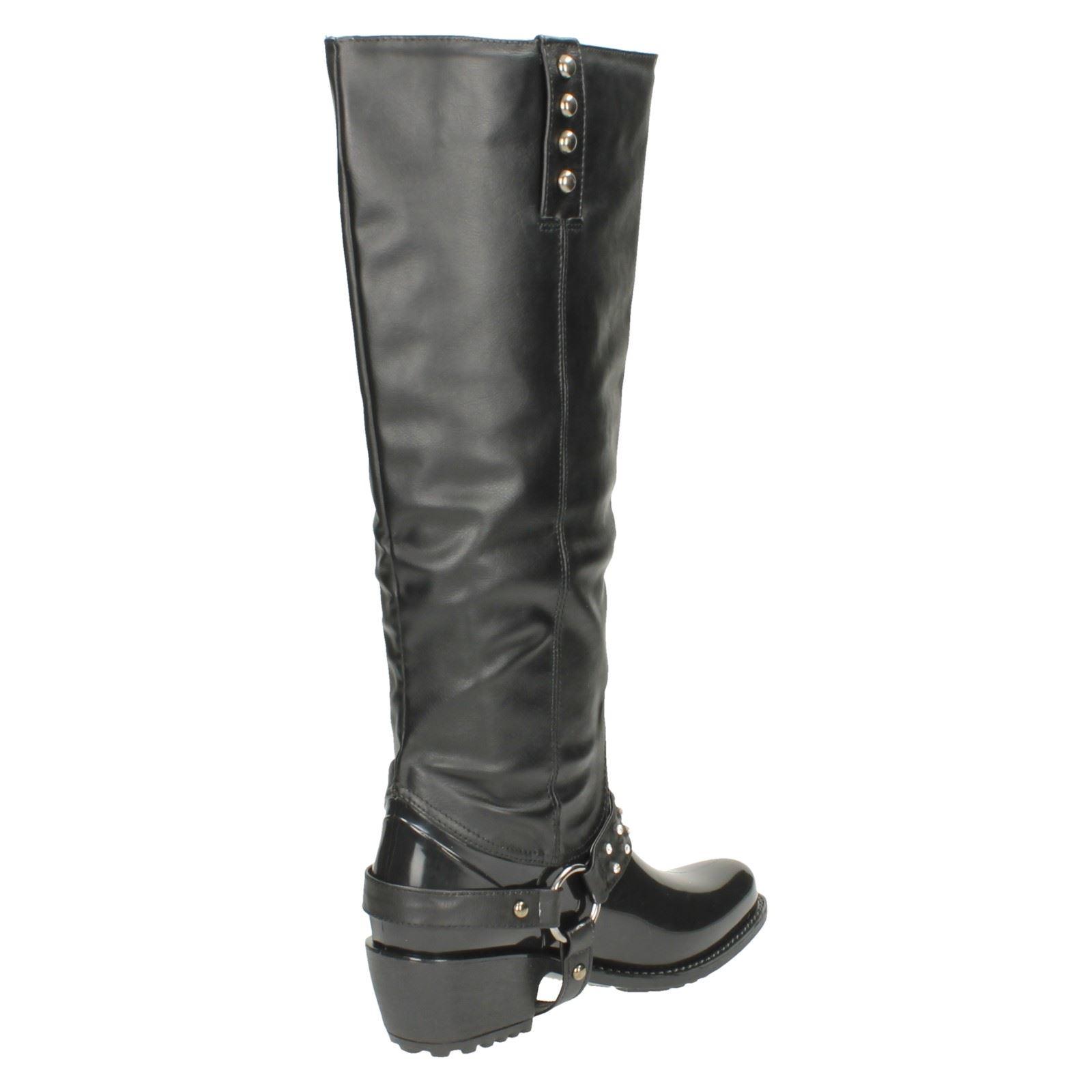 Ladies Spot On Chunky Heel Diamante Trim Strap Studded Boot