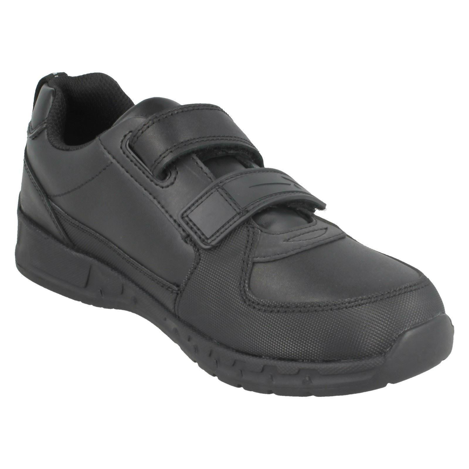 Boys Clarks Gloforms Double Strap Rounded Toe Leather School Shoes Maris Fire