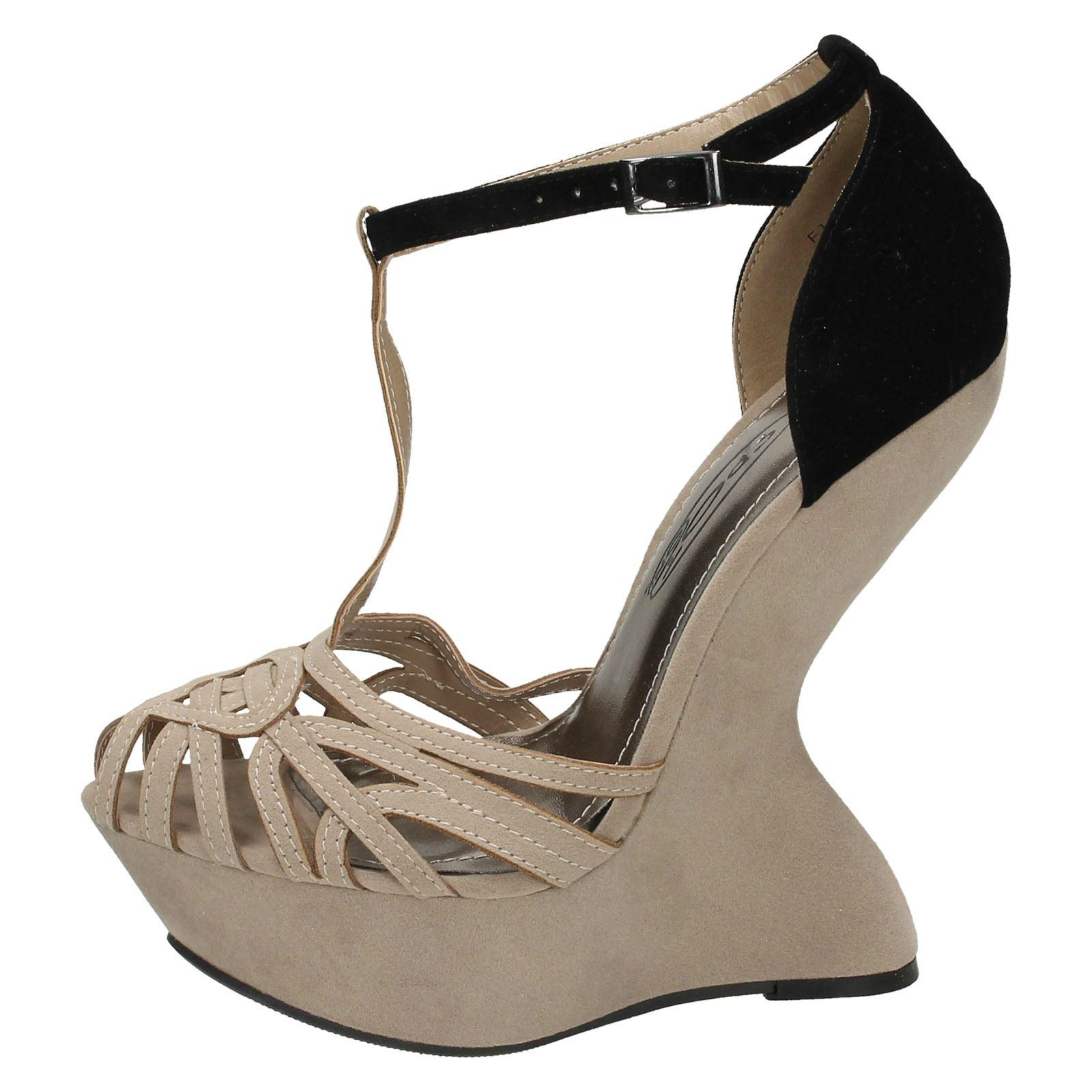 Ladies Spot On High Platform Ghost Heel Sandal