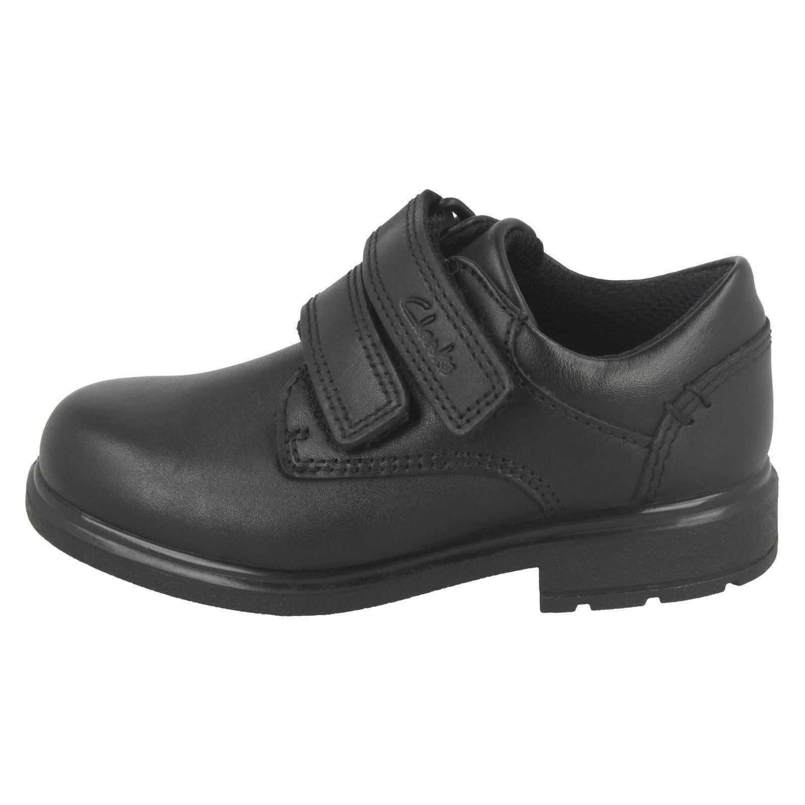 Boys Clarks Formal Double Hook /& Loop Strap Leather School Shoes Remi Pace