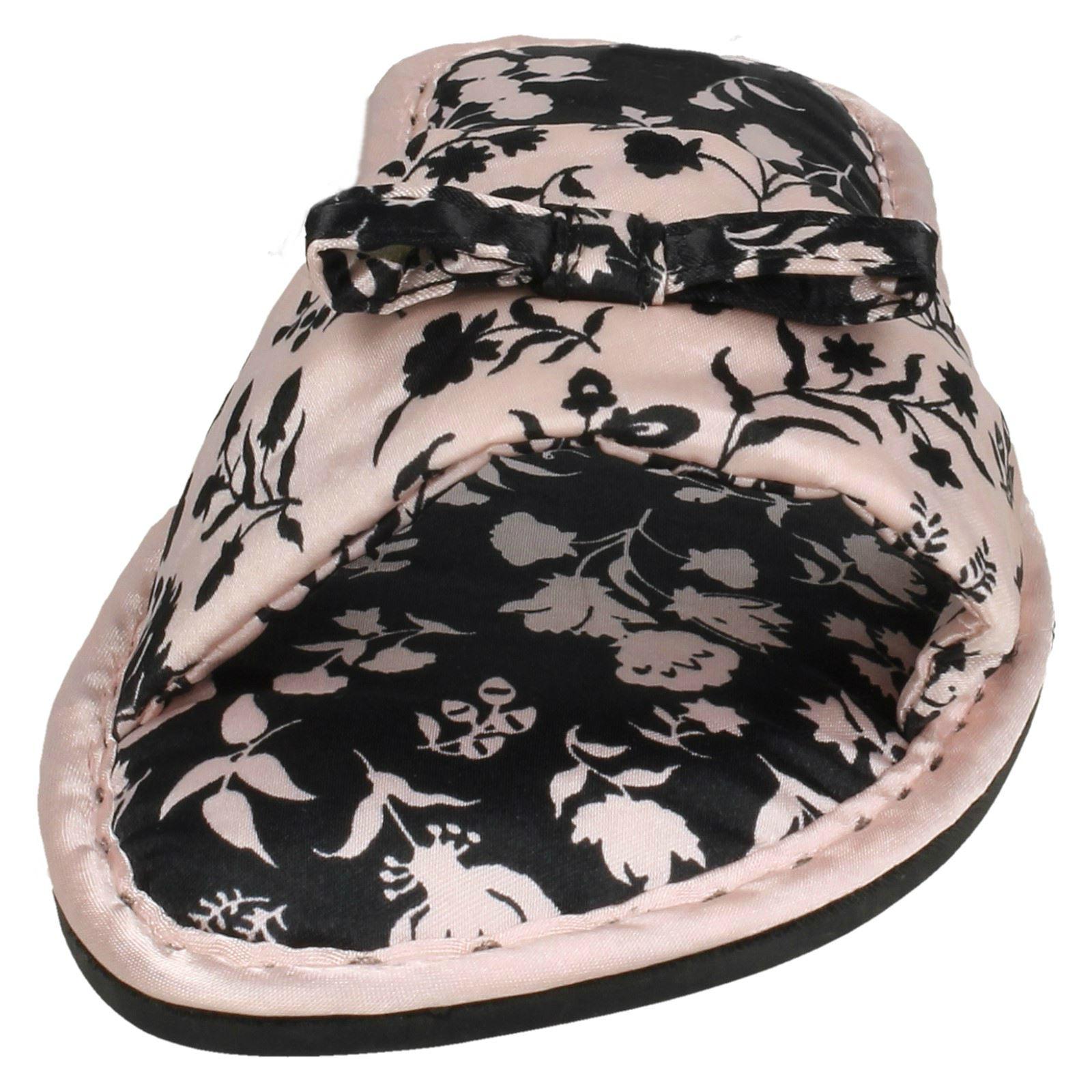 Femmes Spot on Imprimé Fleuri Satin Textile Slip On Mule Chaussons-X2101