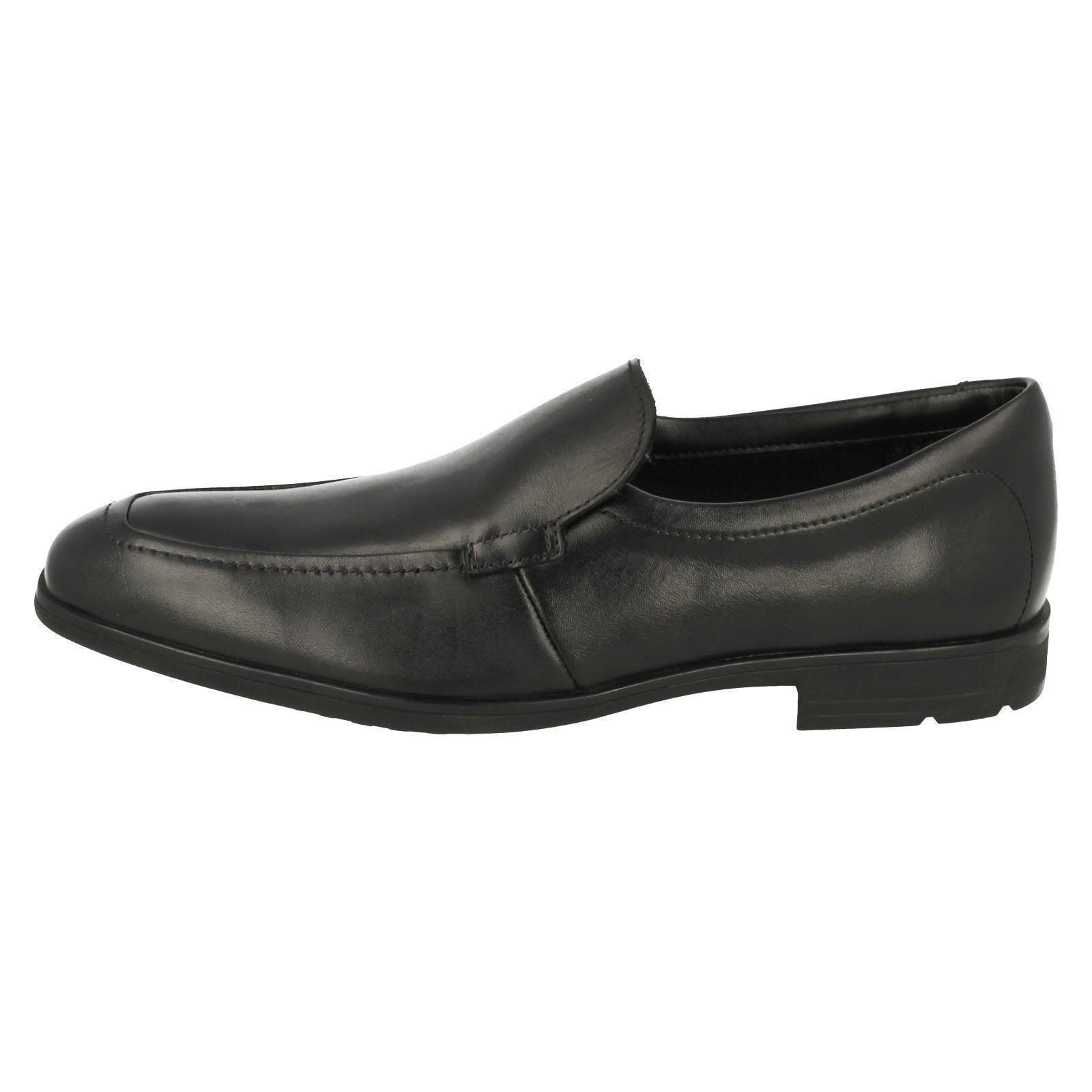 Boys Clarks Rounded Toe Smart Slip On Leather School Shoes Willis Step