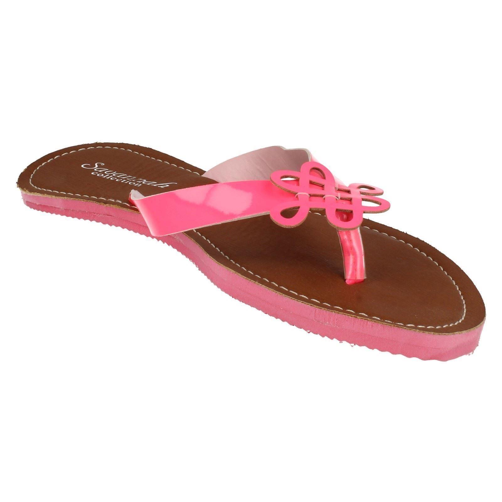 Ladies Savannah Neon Summer Toe Post /'Sandals/'