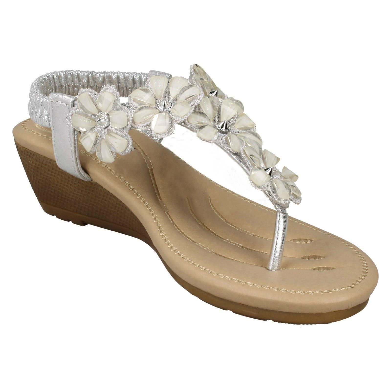 Ladies Savannah Sandals Mid Wedge Toepost