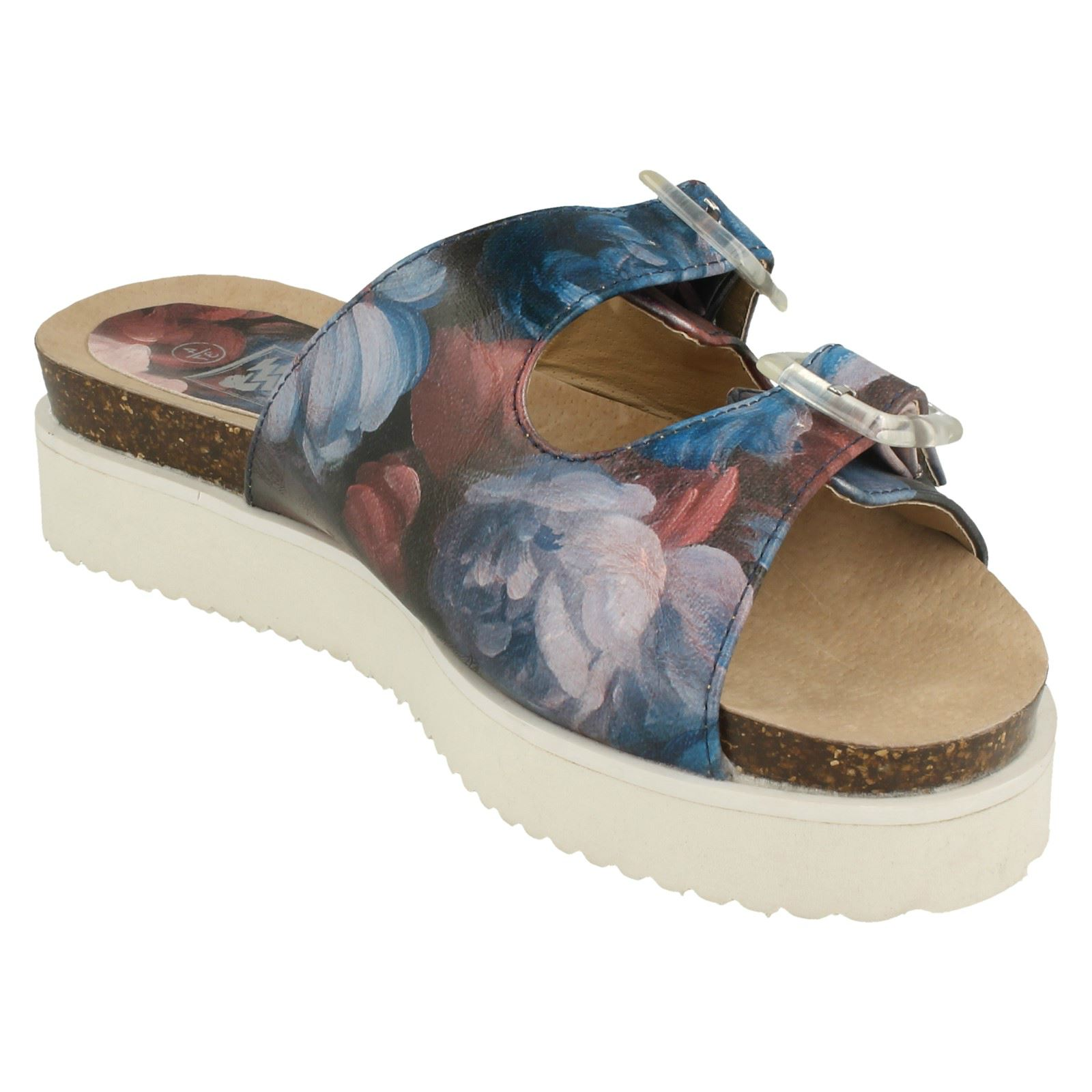 Ladies Down To Earth Twin Strap Leaf Design /'Mules/'