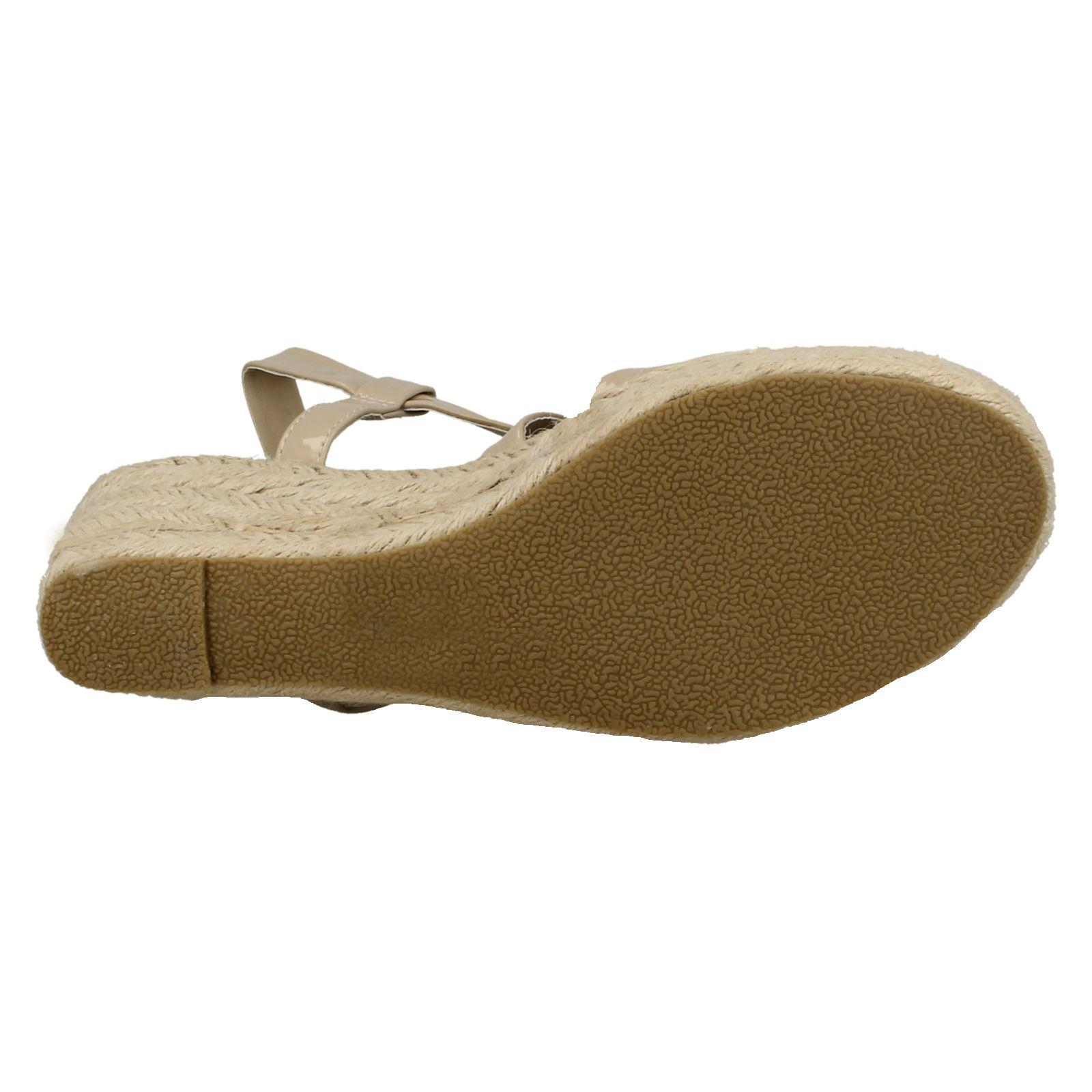 Sandals Ladies Spot On Cross Strap Wedge