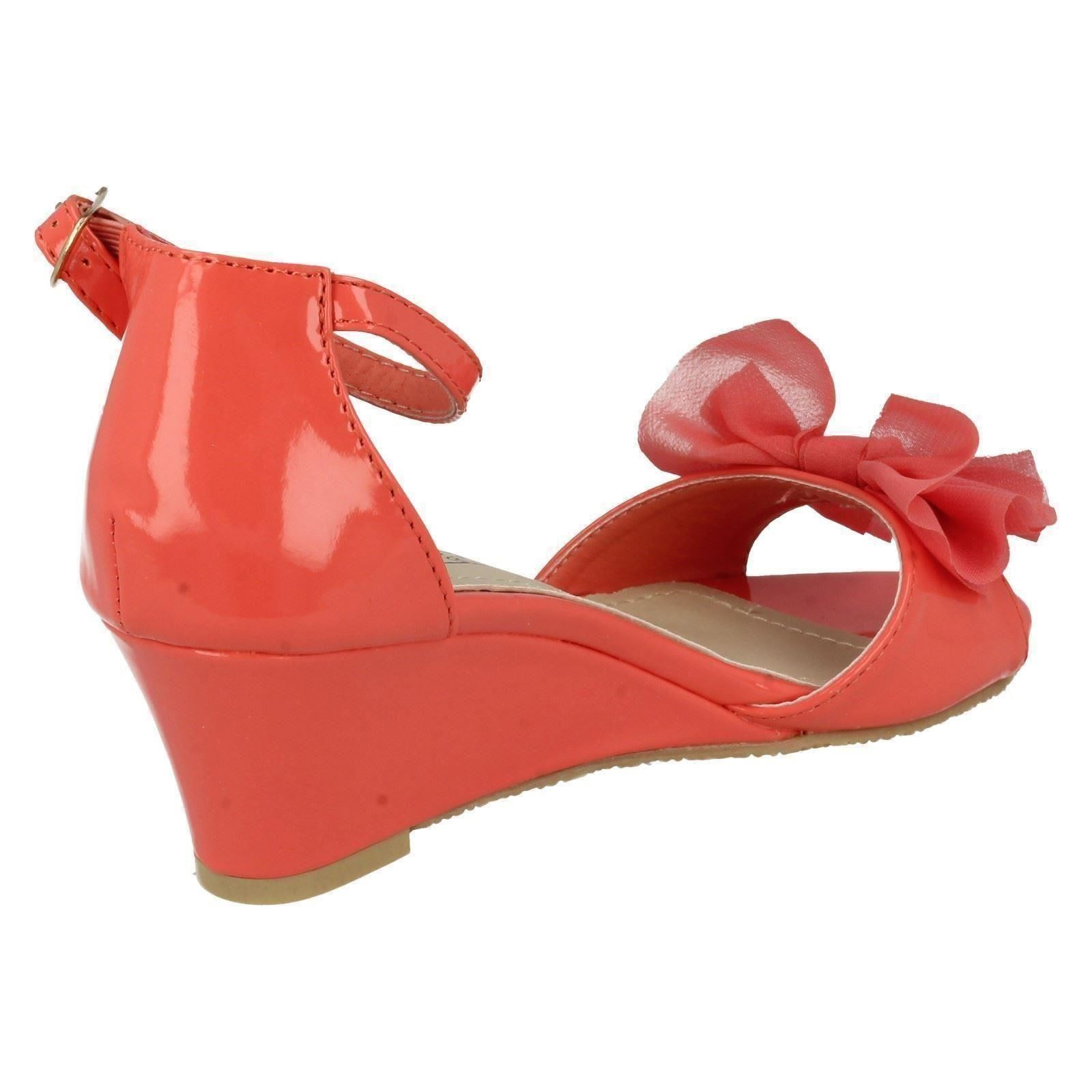 Girls Spot On Low Heel Rouche Bow Ankle Strap Patent Summer Wedge Sandals H1R074