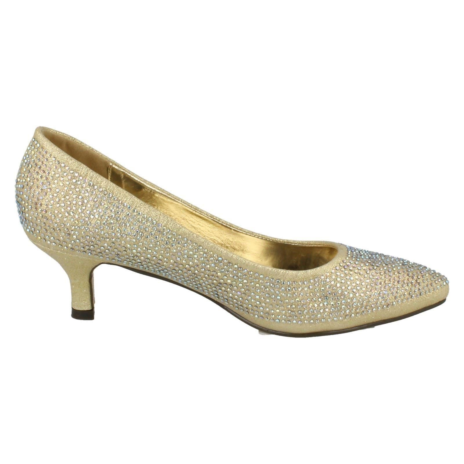 Ladies Anne Michelle Diamante Low Heel Court Shoes