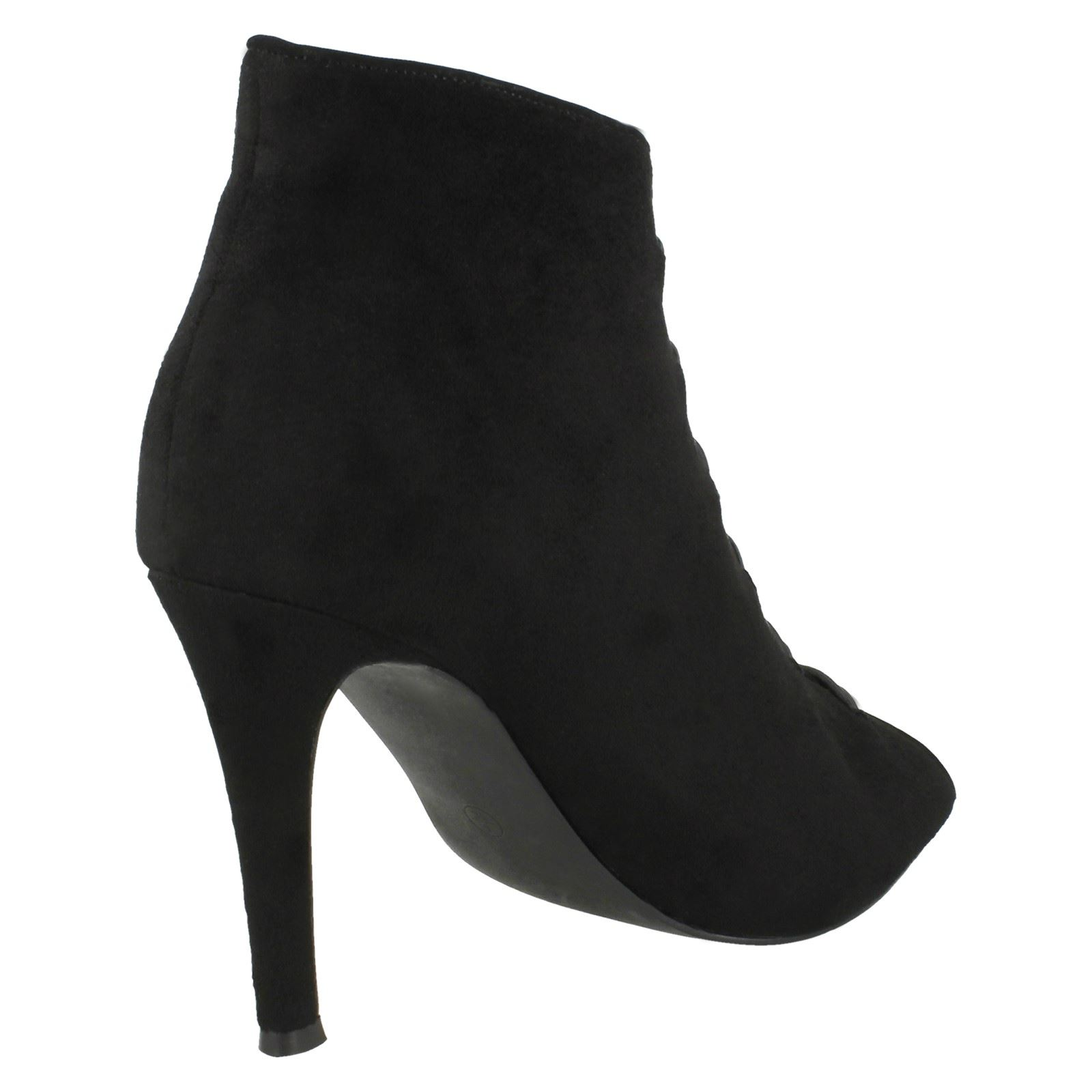 Ladies Spot On High Heel Peeptoe Button Up Ankle Boots F10738