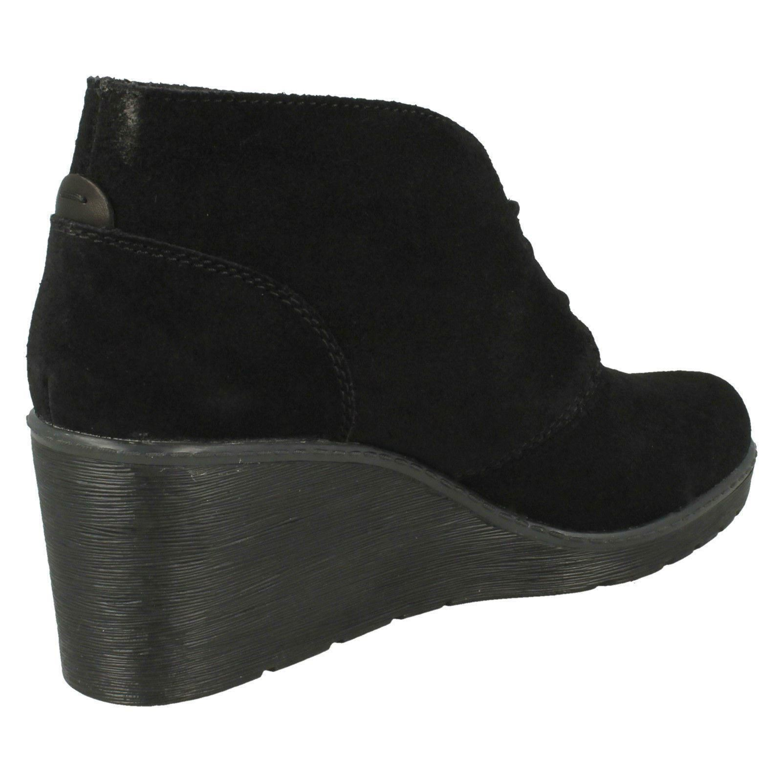 Ladies Clarks Wedge Heeled Lace Up Leather Casual Smart Ankle Boots Hazen Charm