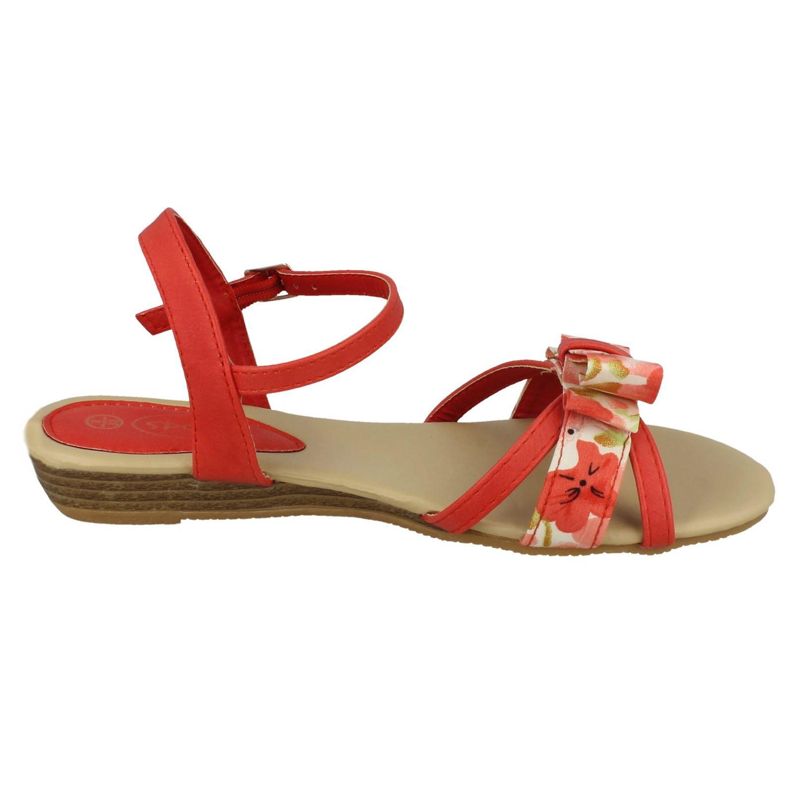Spot On Girls Summer Bow Front Sandals