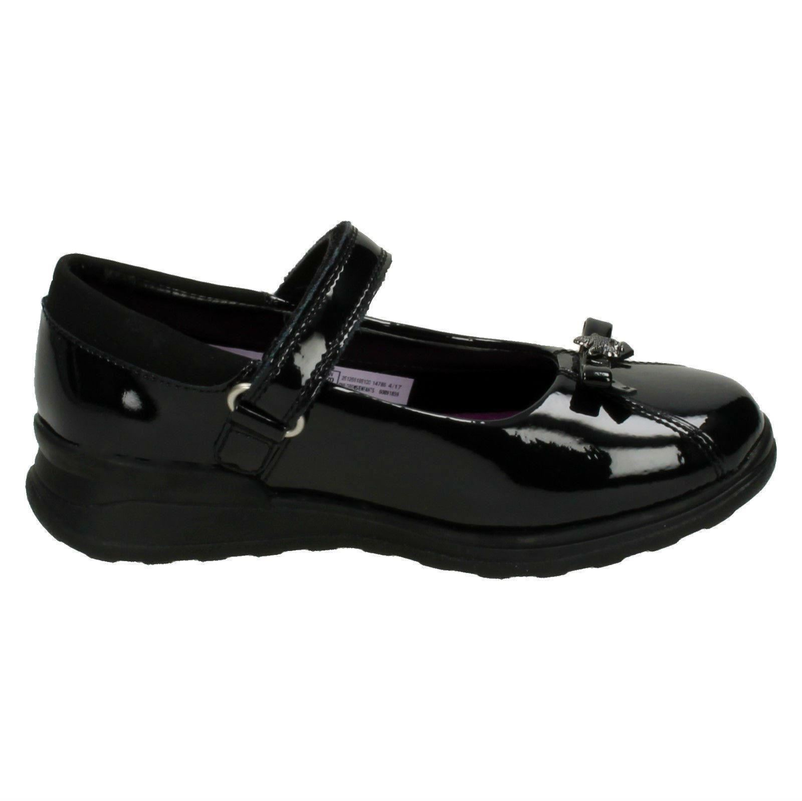 Girls Gloforms By Clarks Bow Trim School Shoes /'Mariel Wish Inf/'