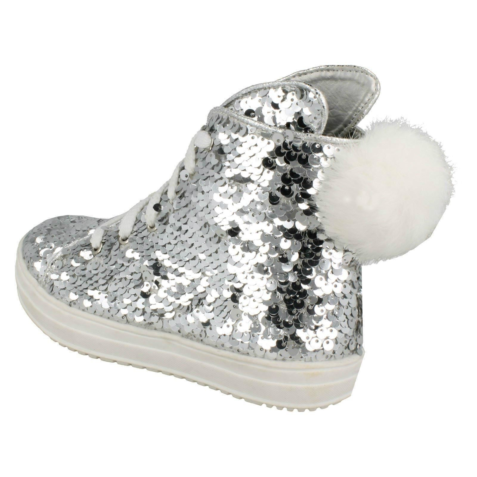 Girls Spot On Sequin Ankle Boots