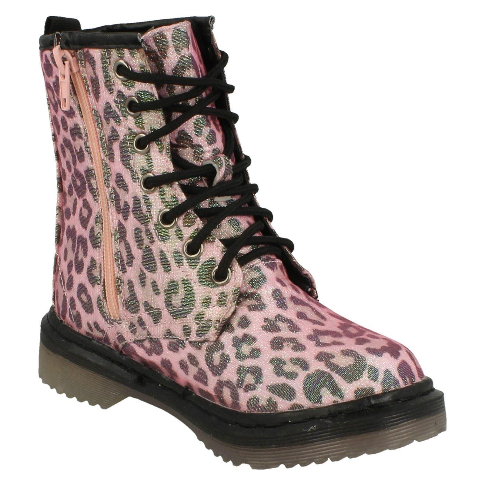 Spot On Ragazze Tacco Spesso scintillante leopardo stampa Stivali