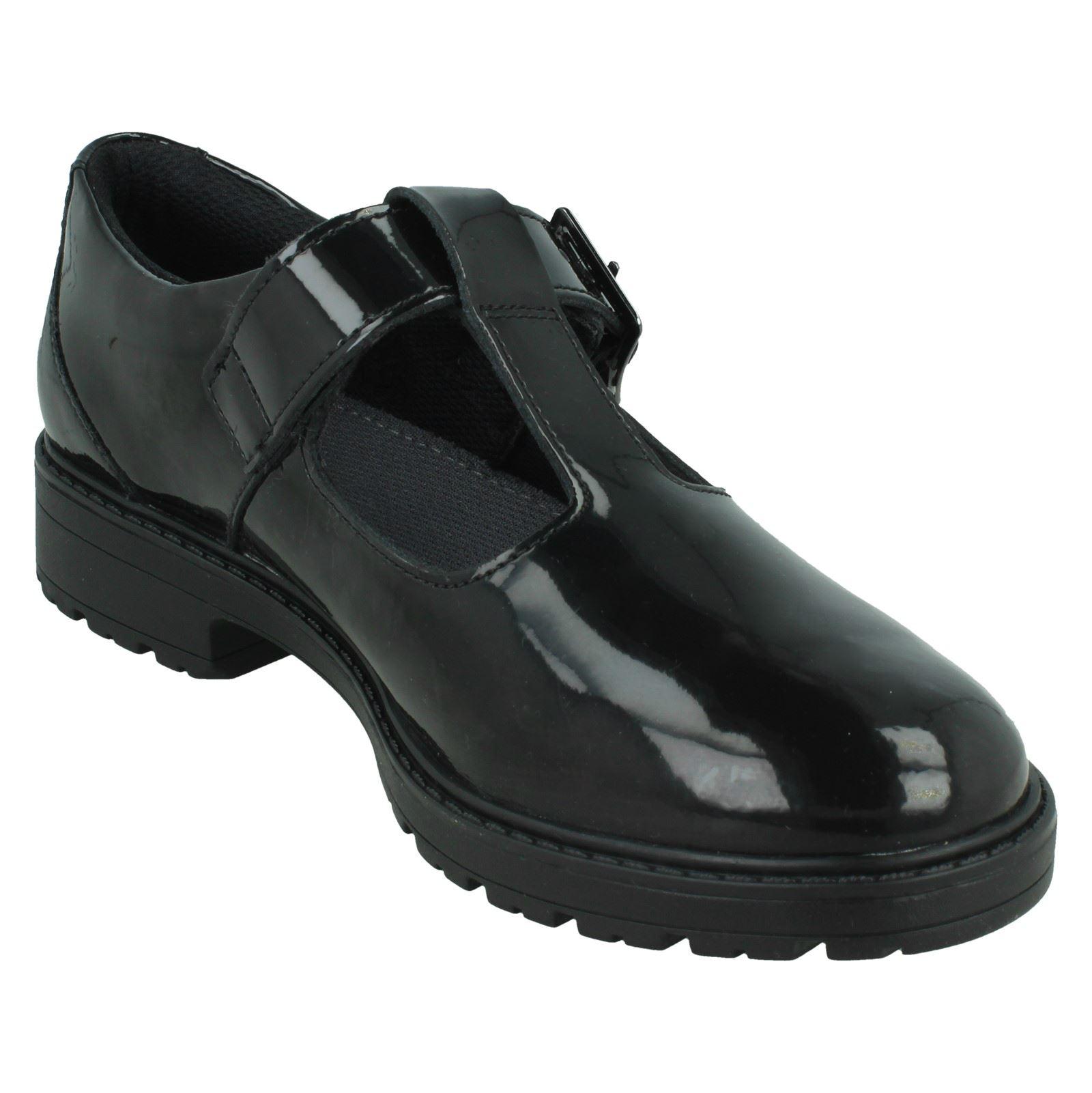 Girls Clarks T-Bar School Shoes *Loxham Shine*