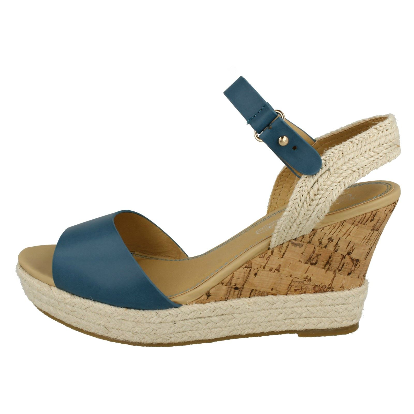 Ladies Spot On High Wedged Ankle Strap Espadrille Sandals