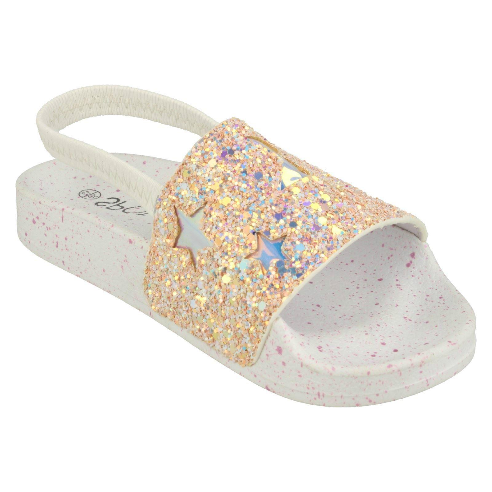 Spot On Girls Slingback Glitter Sliders