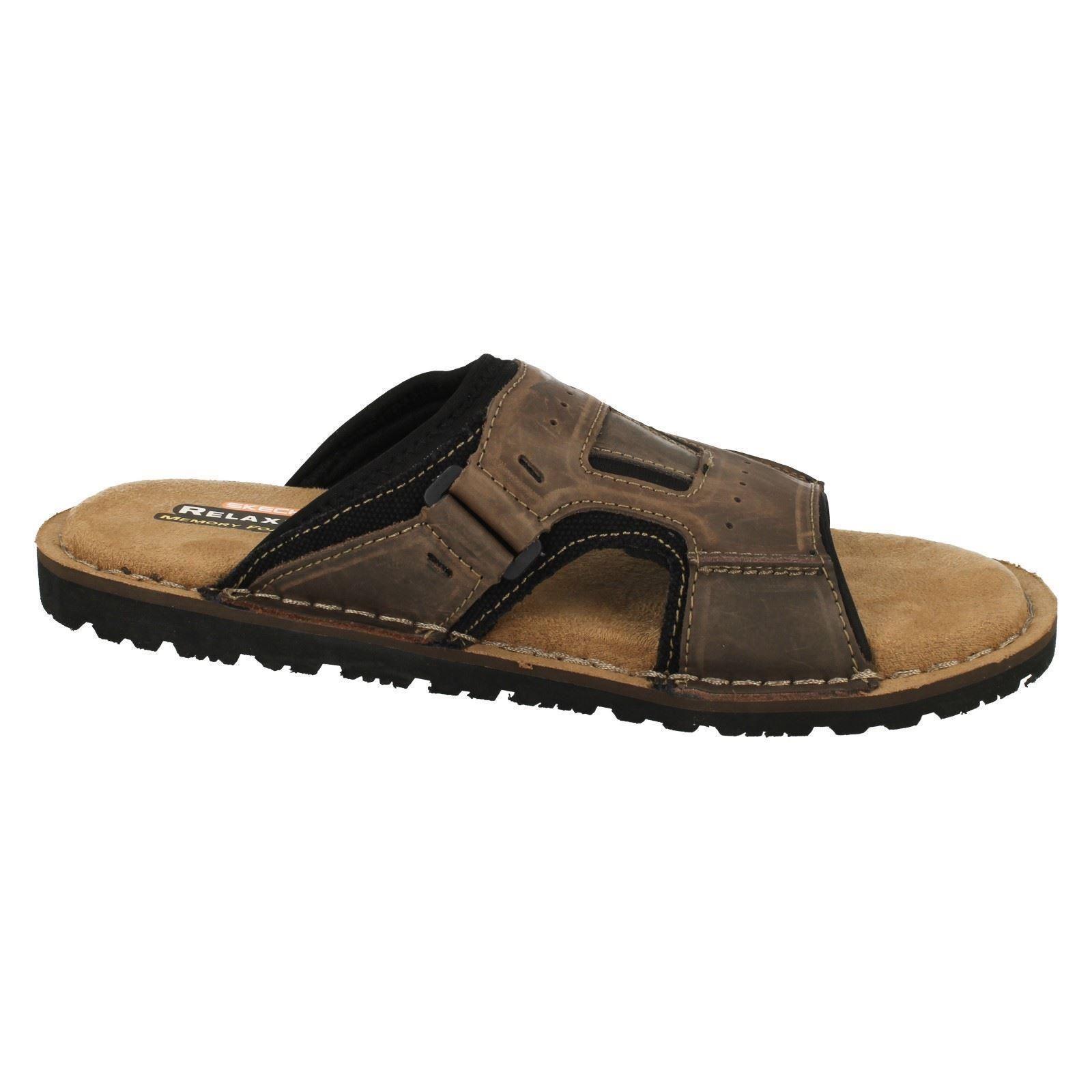 Mens Skechers Open Toe Memory Foam Slip On Leather Sandals Golson 64148