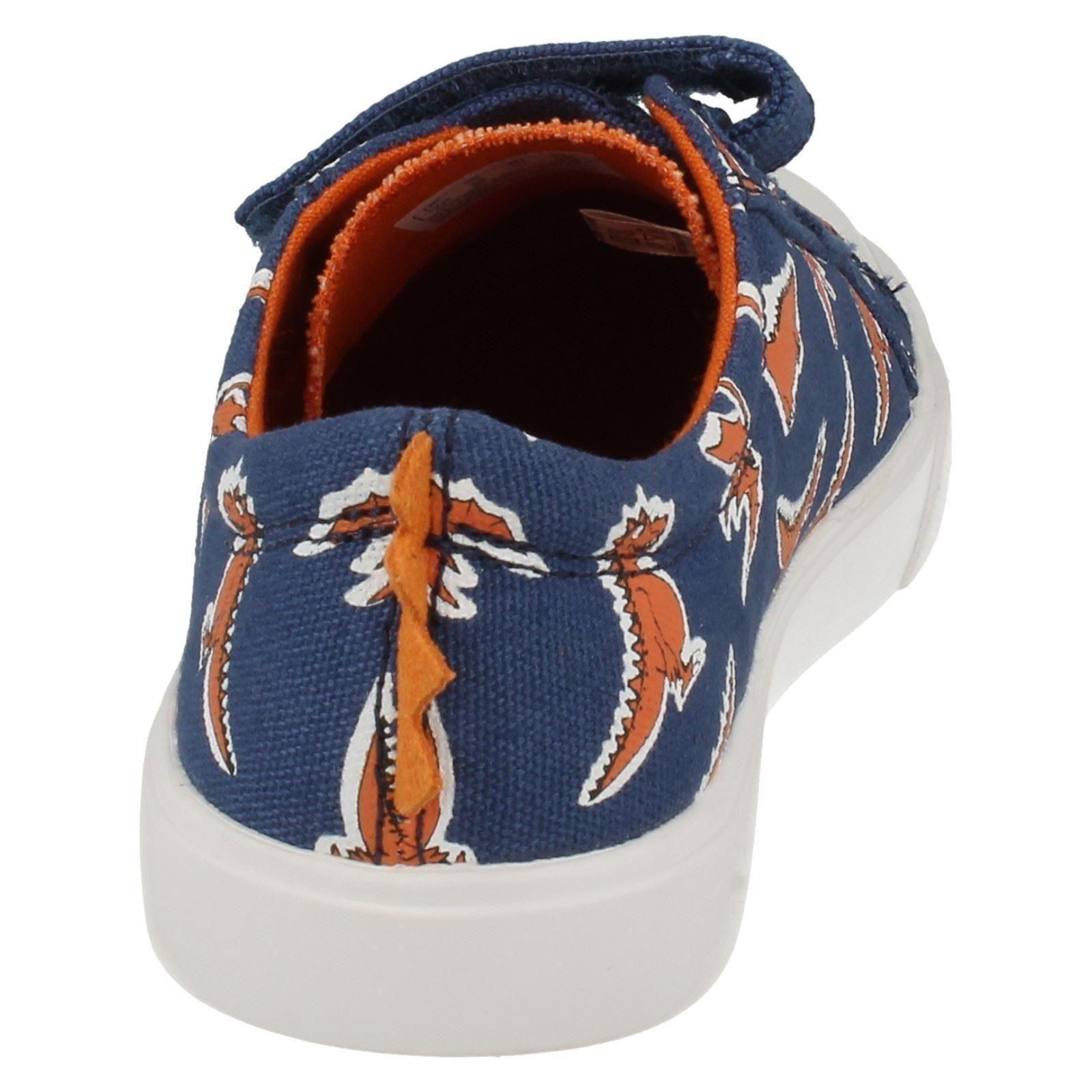 Infant /& Junior Boys Clarks Rounded Toe Hook /& Loop Dinsaur Doodles Tricer Roar