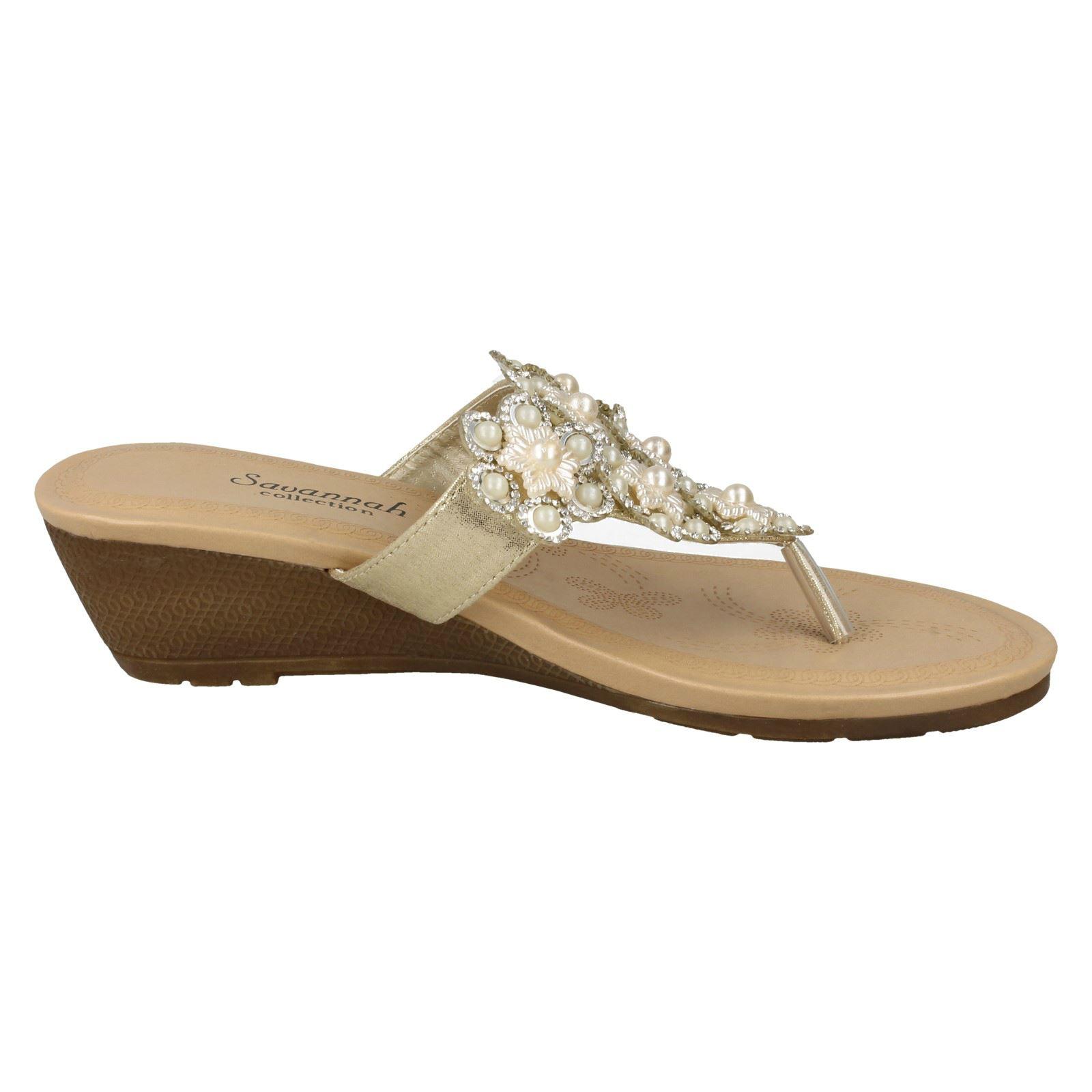 Ladies Savannah Mid Wedge Toepost Sandals