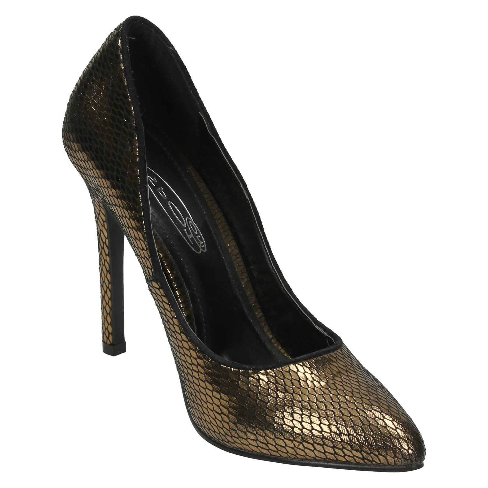 Ladies Spot On High Heel Pointed Toe Snake Design Court Shoes