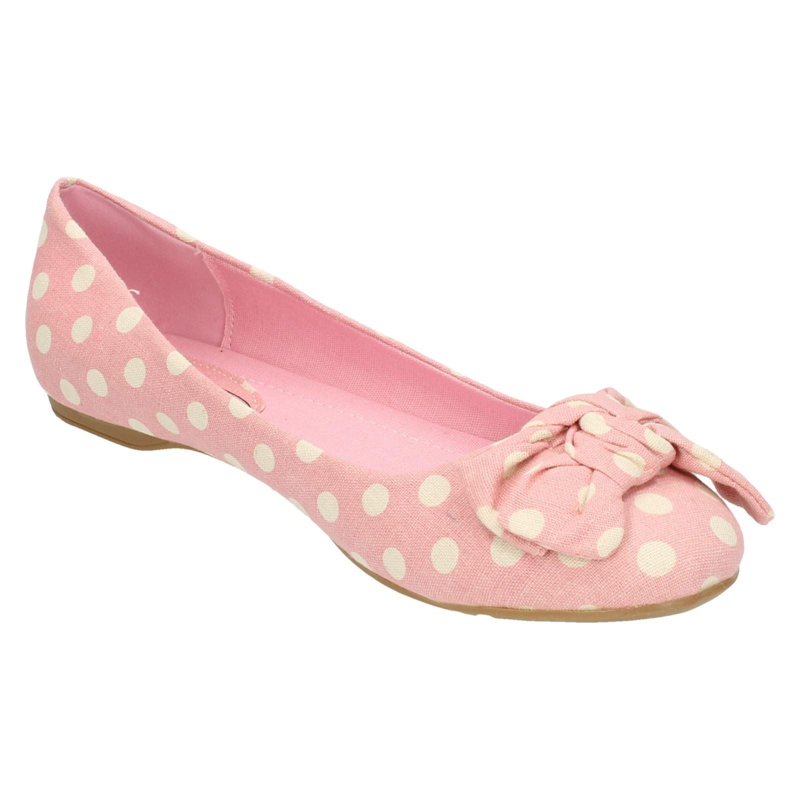 Ladies Spot On Flat Bow Trim Ballerina /'Shoe/'