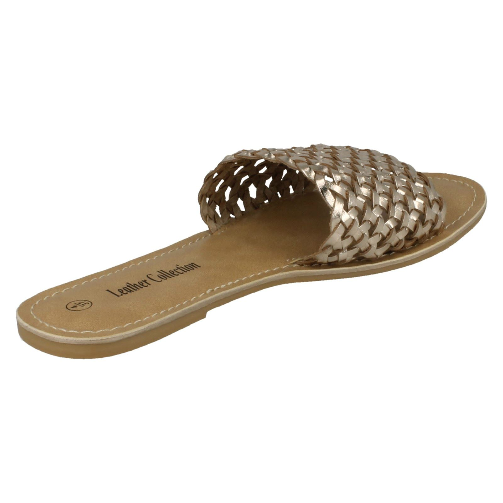 Leather Collection Ladies Flat Weave Mule Sandals