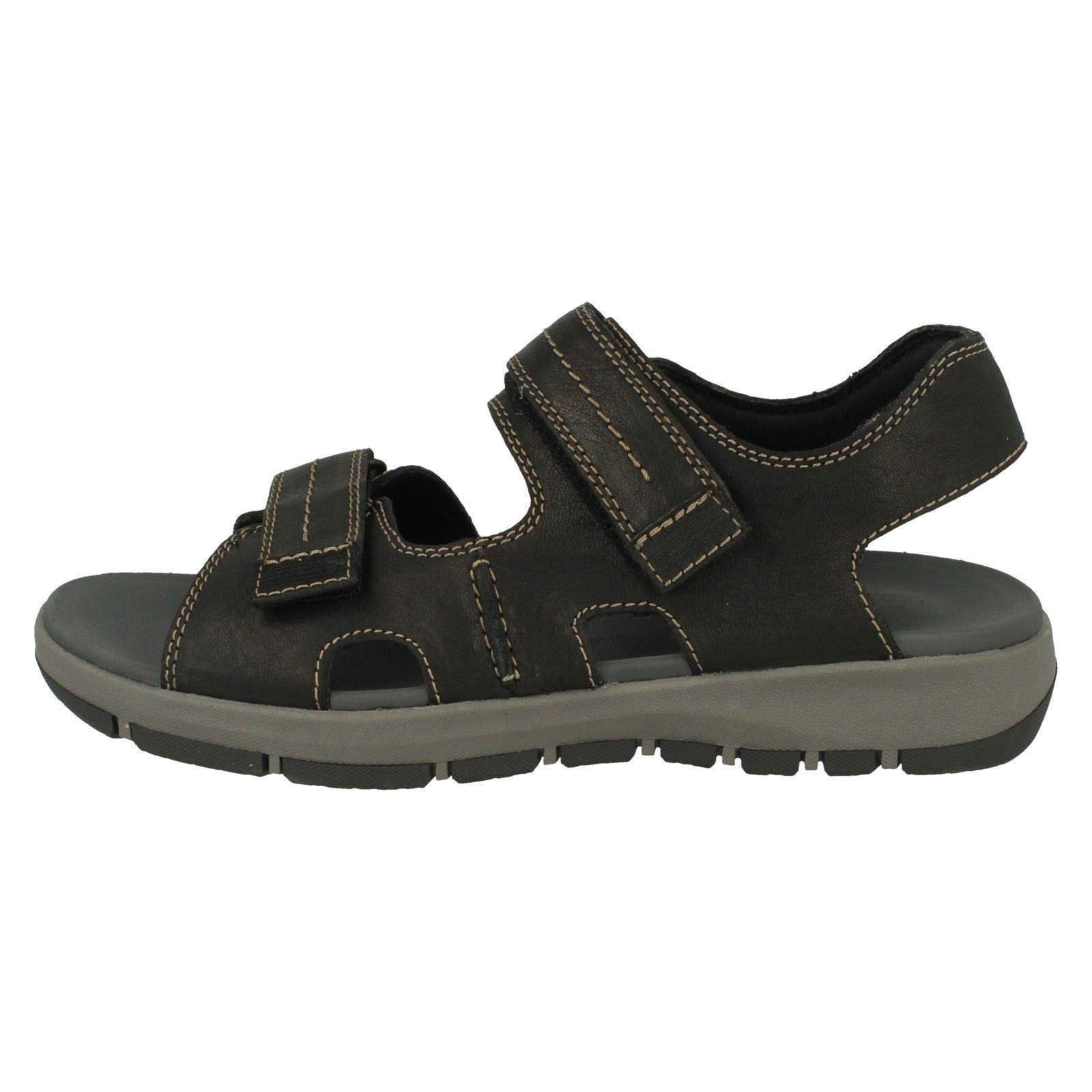 Mens Clarks Hook /& Loop Fastening Sandals /'Brixby Shore/'