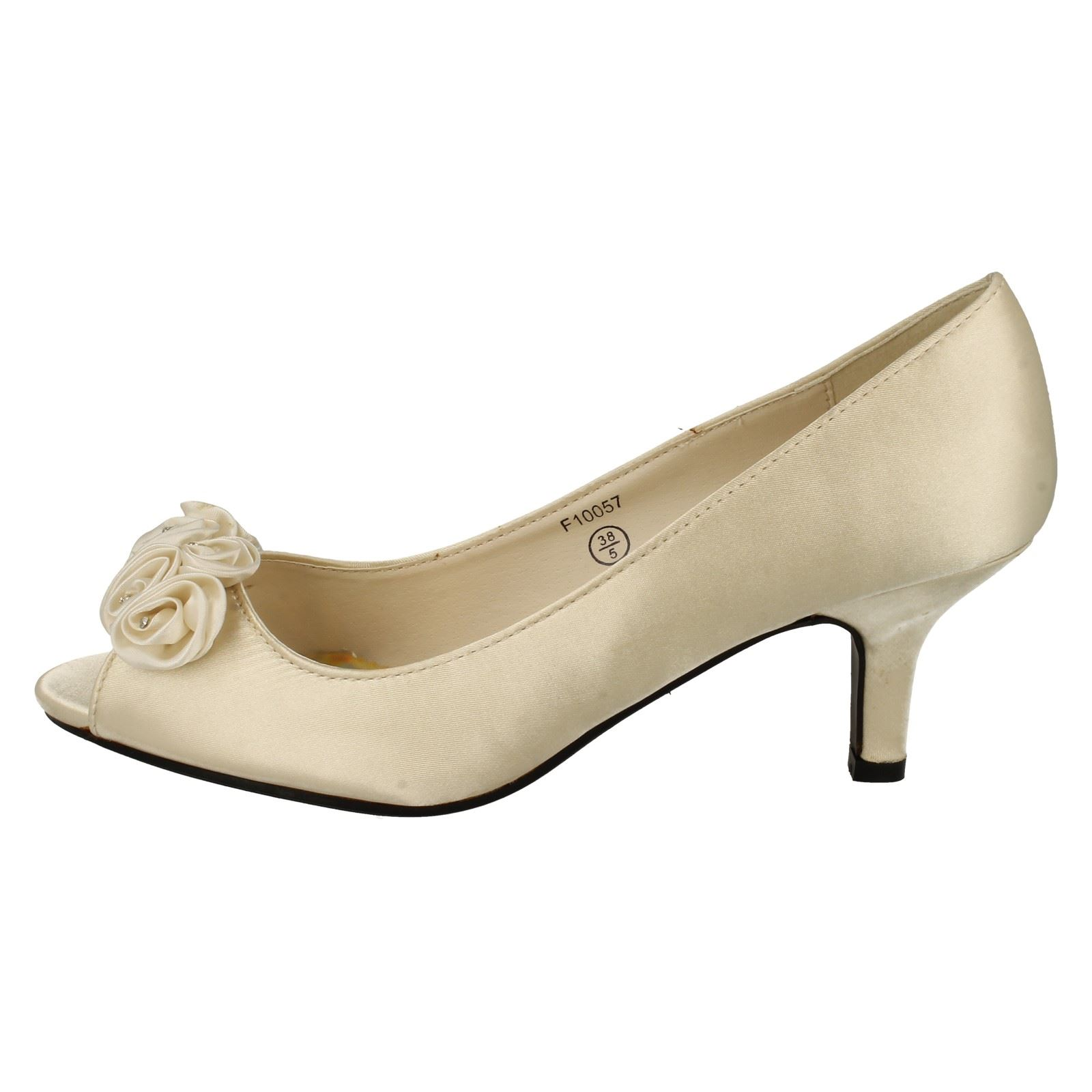 Spot On Ladies Peep Toe Shoes with Flower Detail