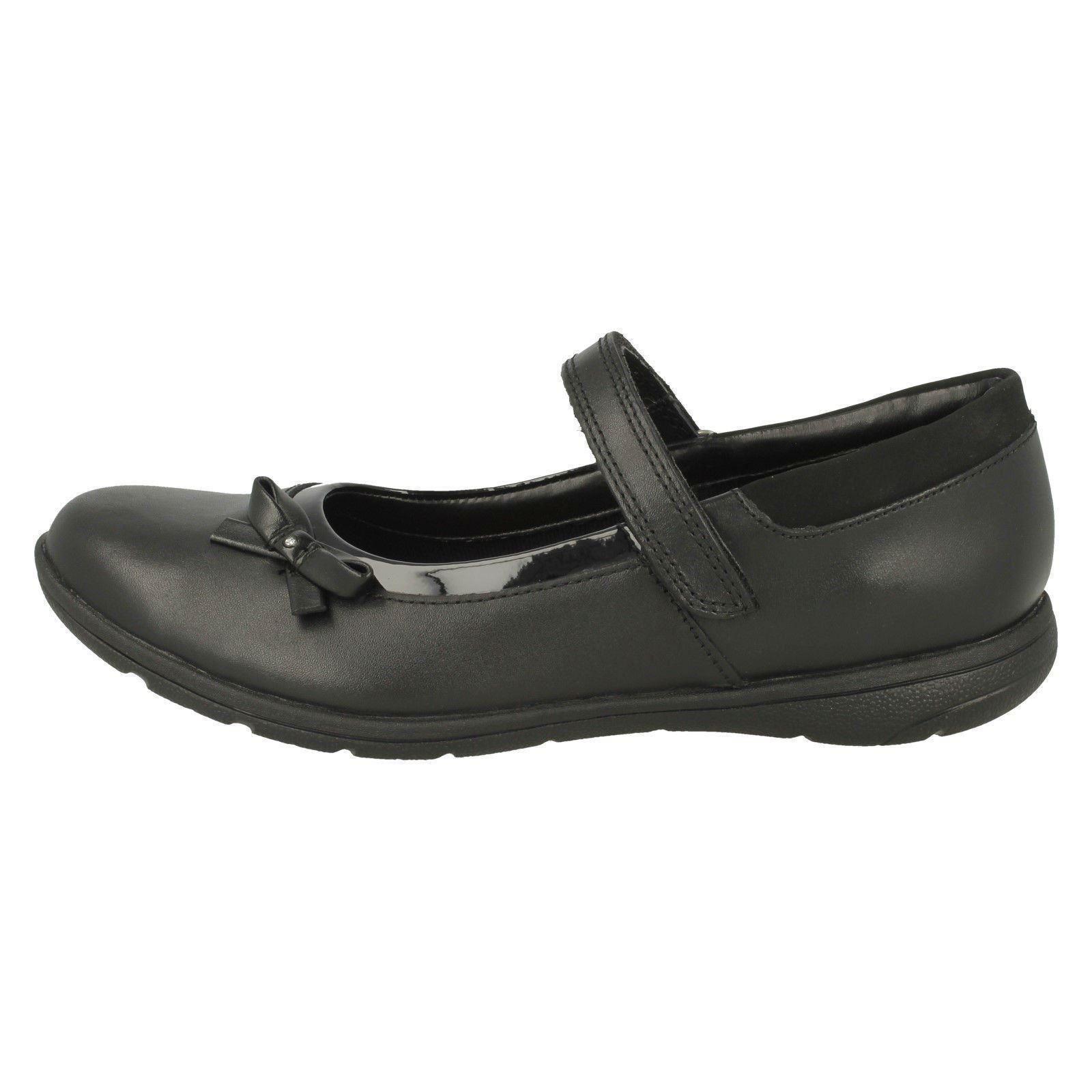 Girls Clarks Hook /& Loop Bow School Shoes /'Venture Star/'
