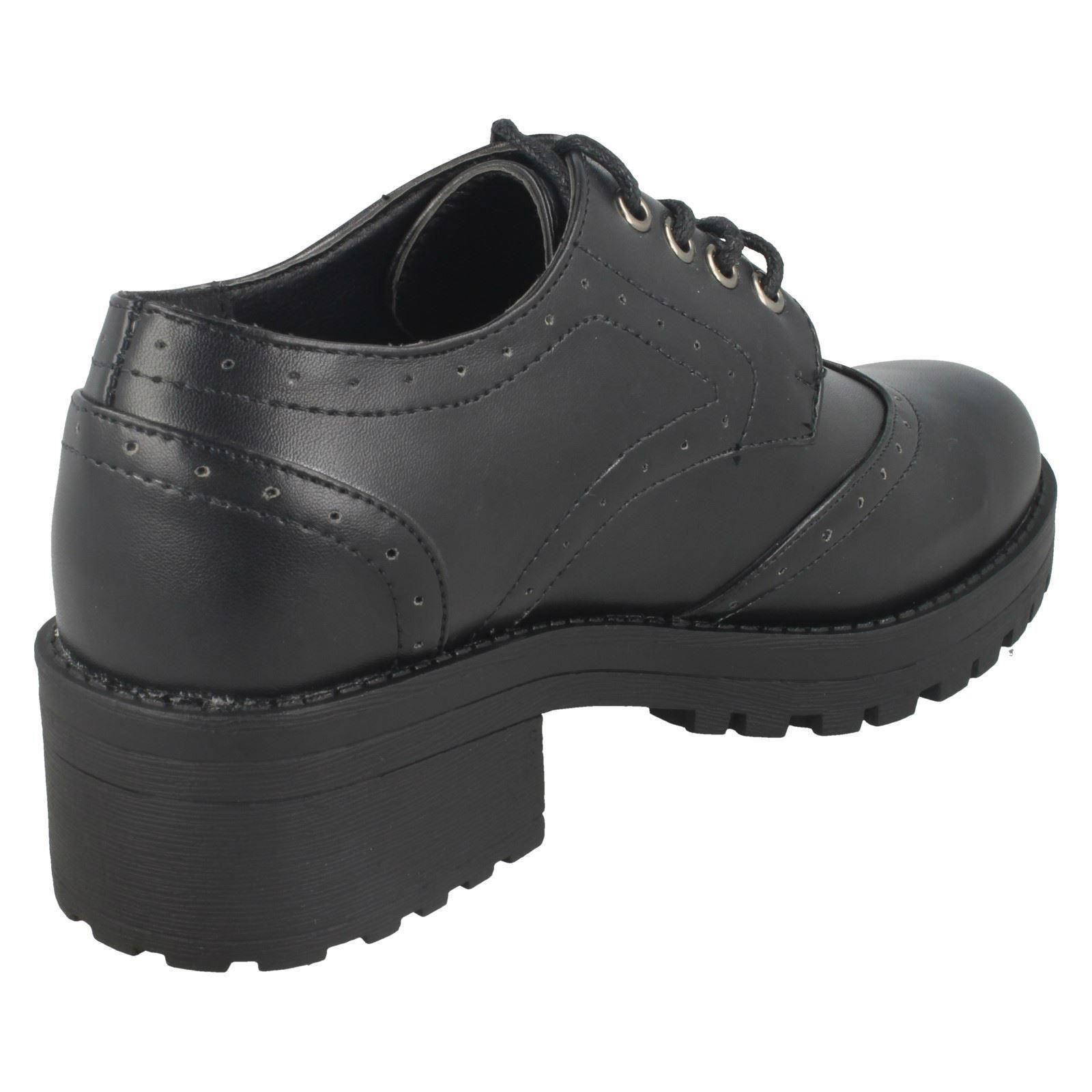Ladies Spot On Chunky Heel Brogues