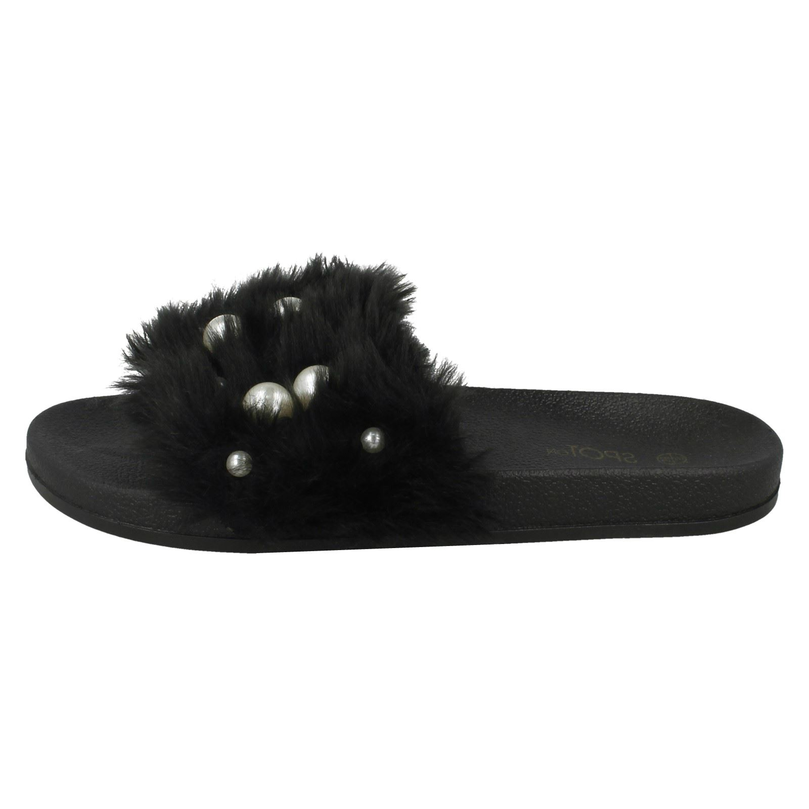 Ladies Spot On Pearl Trim Faux Fur Slider Style Sandals