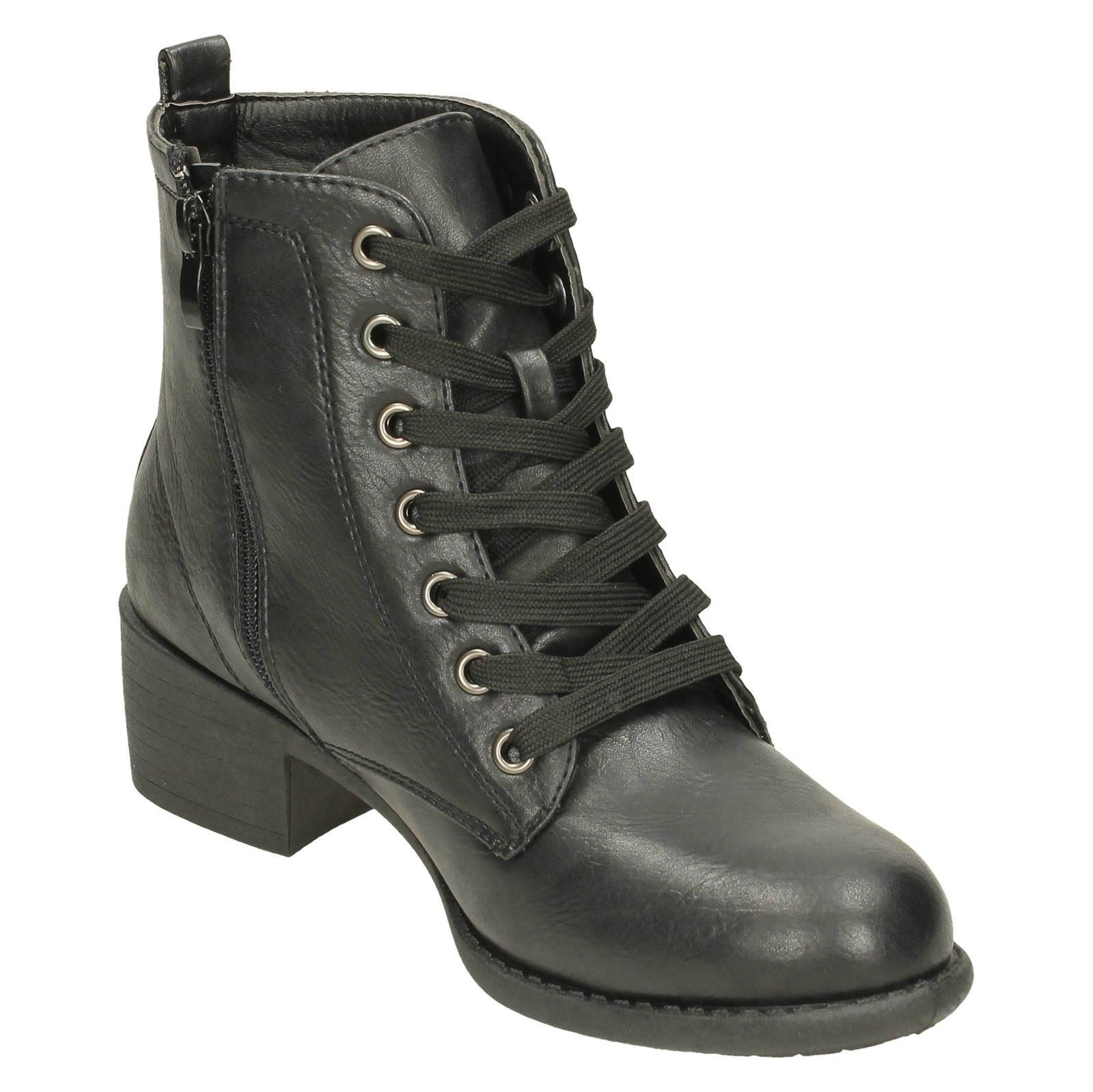 Ladies Spot On Lace Up Ankle Boots With Mid Heel