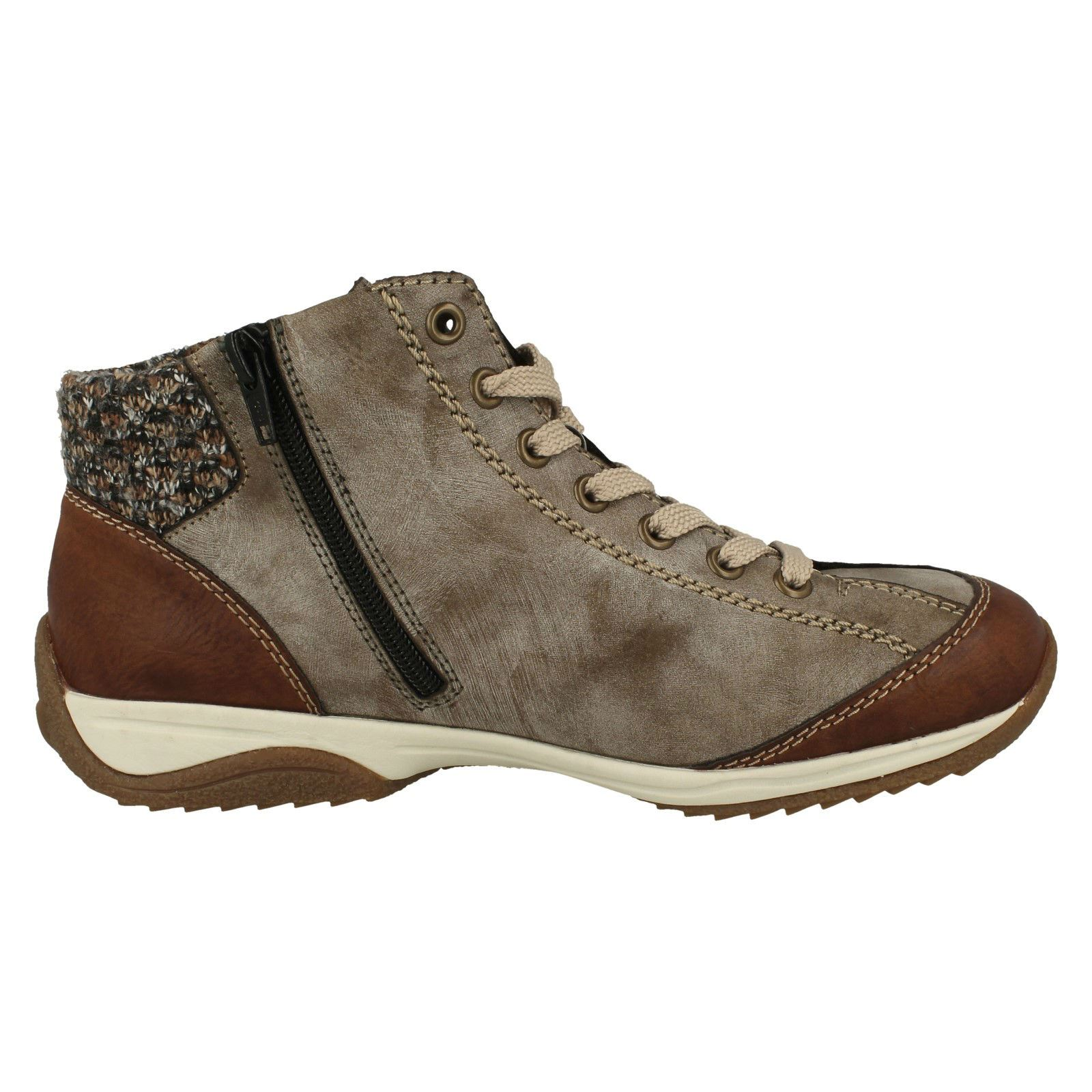 Ladies Rieker Knitted Cuff Ankle Boots L5223