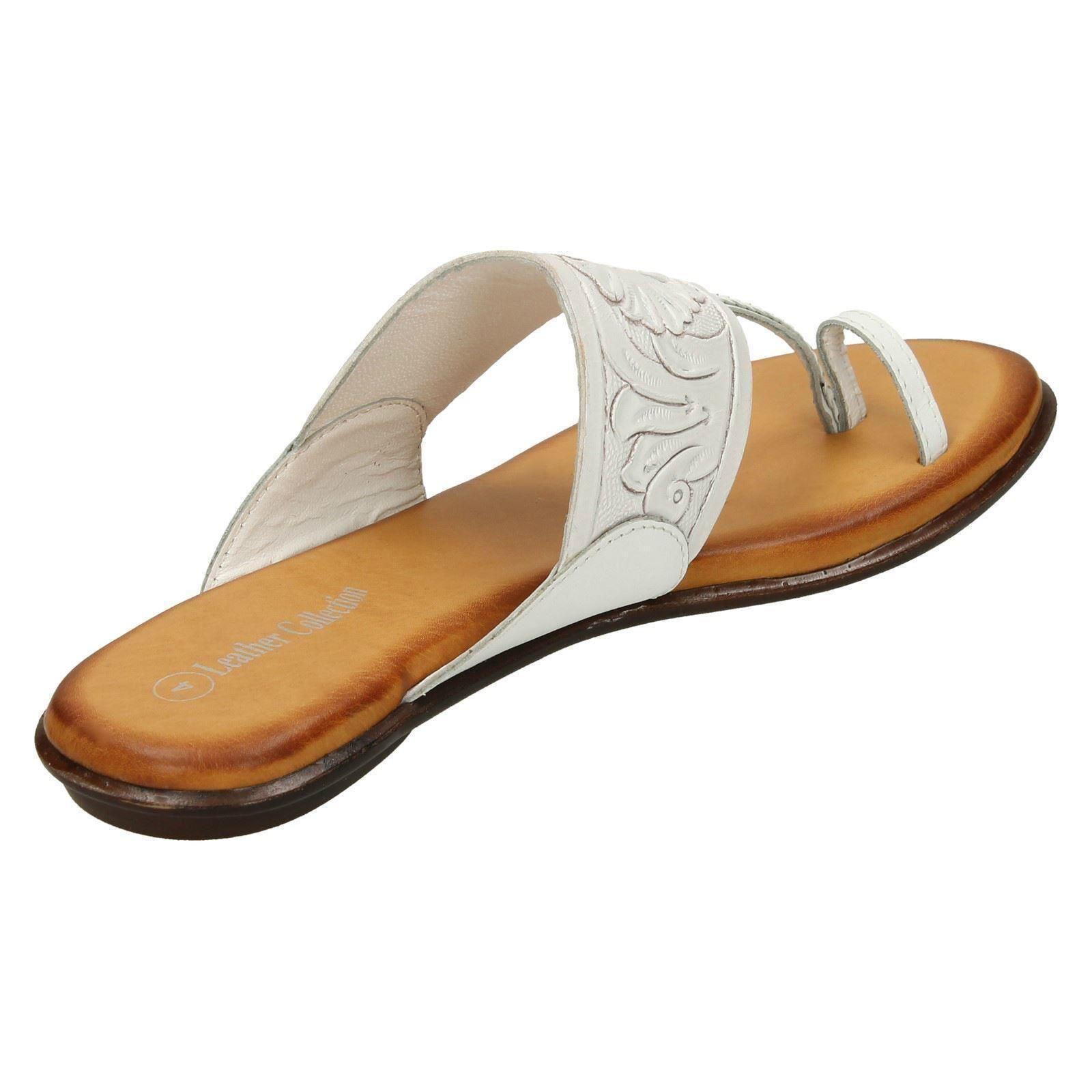 Mesdames cuir collection Flat Toe Loop-Sandales