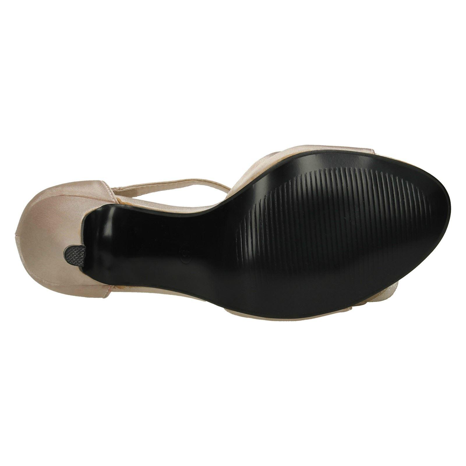 F1R740 Ladies Spot On/' High Heeled Ankle Strap Sandal