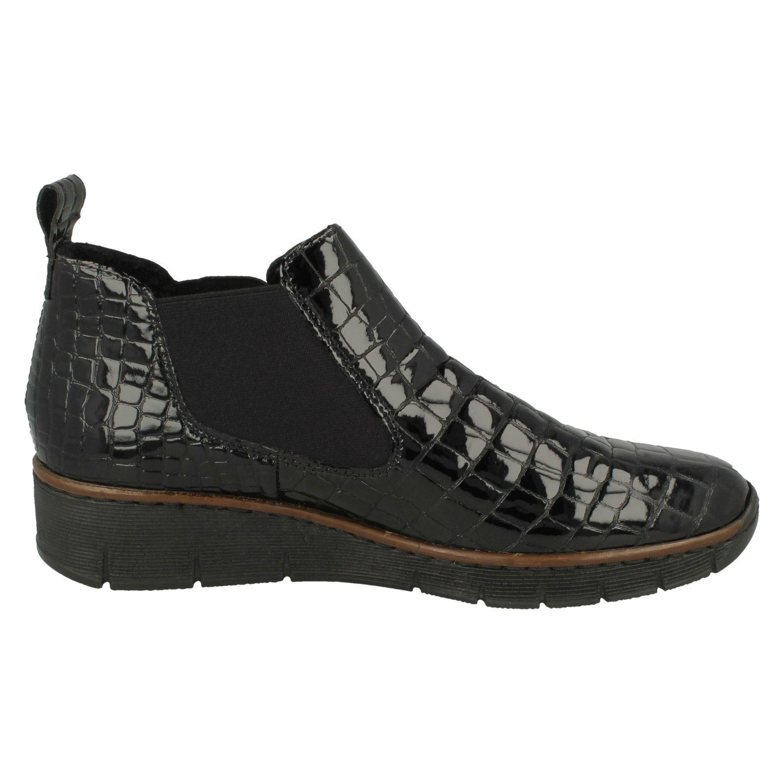 Ladies Rieker Wedge Heel Boots 53794