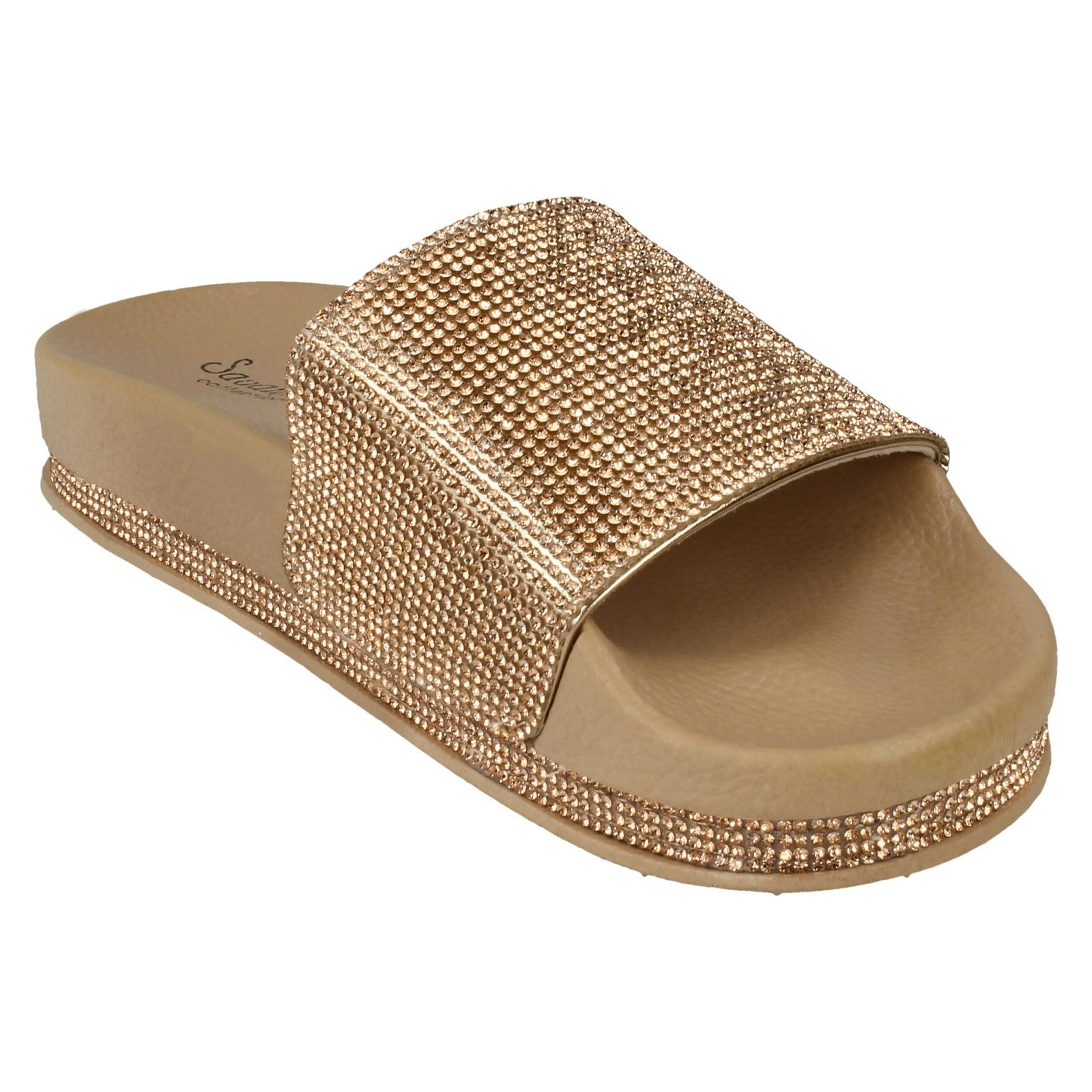 Ladies Savannah Diamante Slip On Slider Mules