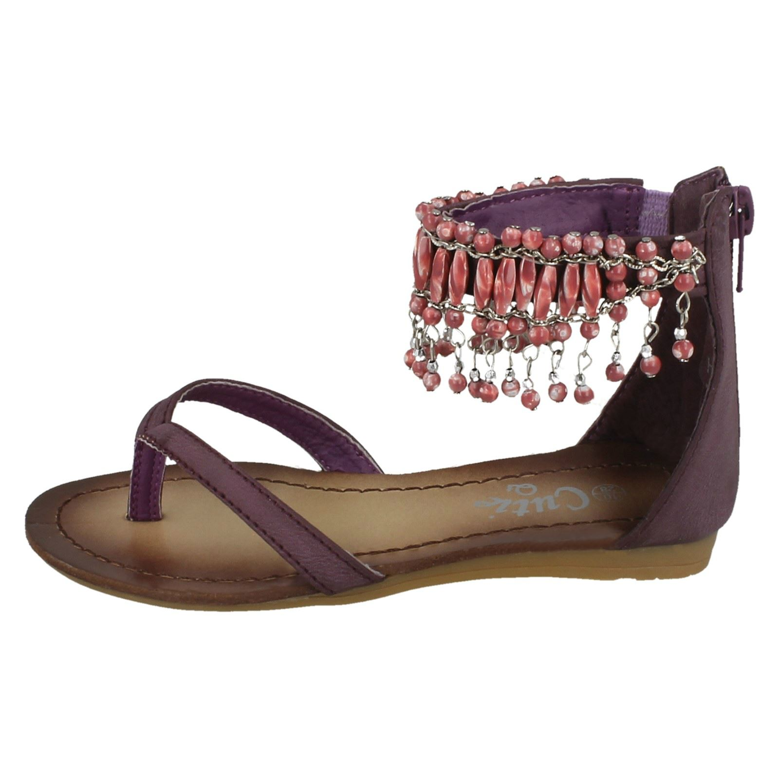 Cutie Girls Beaded Ankle Strap Toe Post Sandals