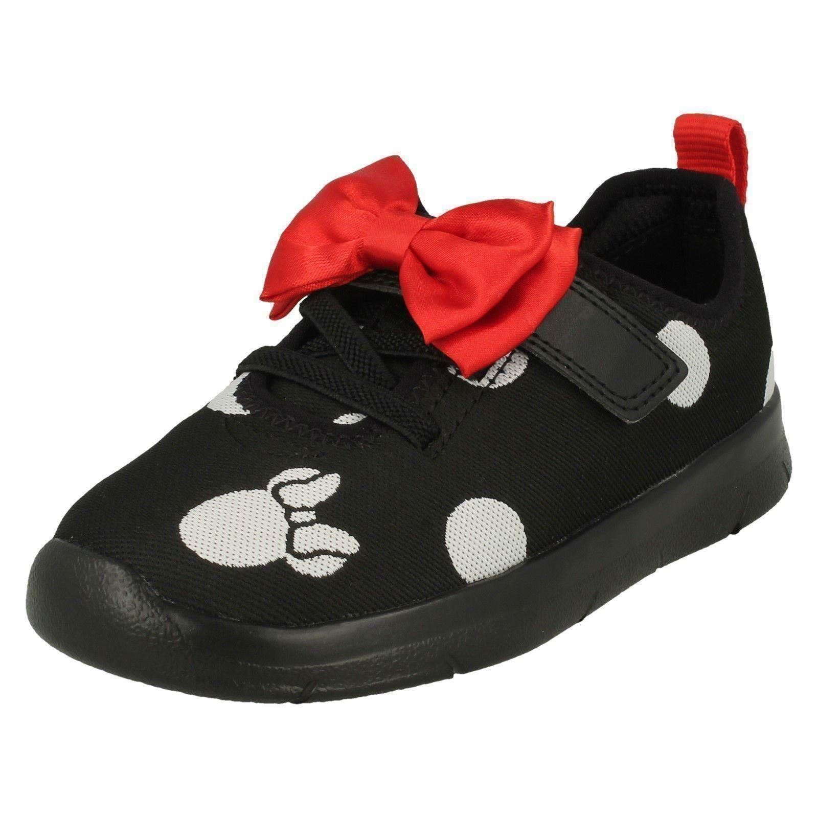 Girls Clarks Disney Minnie Mouse Bow Detailed Trainers /'Ath Bow/'