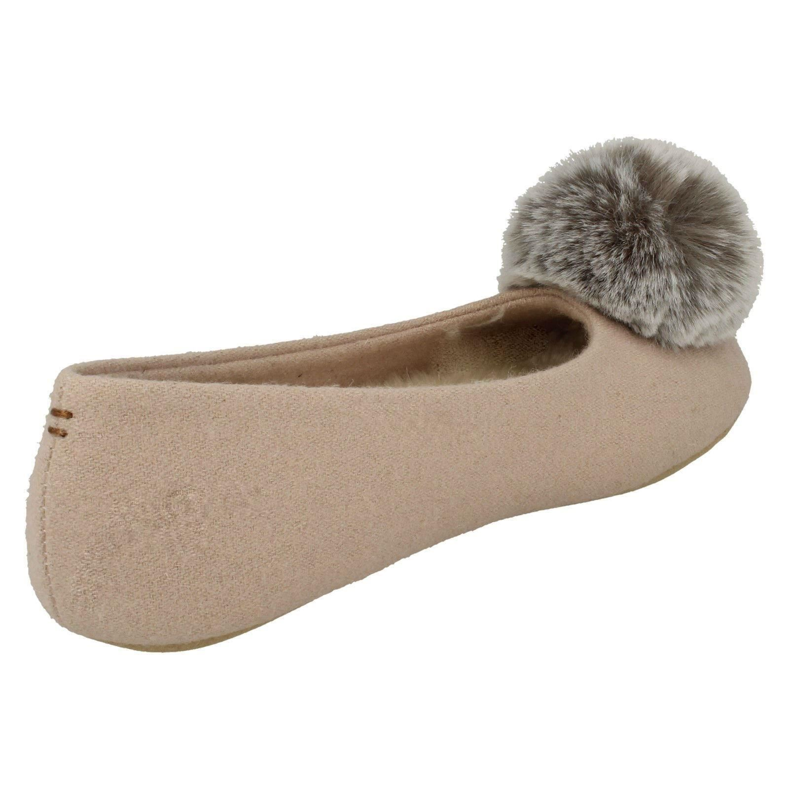 Ladies Clarks Rounded Toe Slip On Textile Pom Pom Slippers Cozily Warm