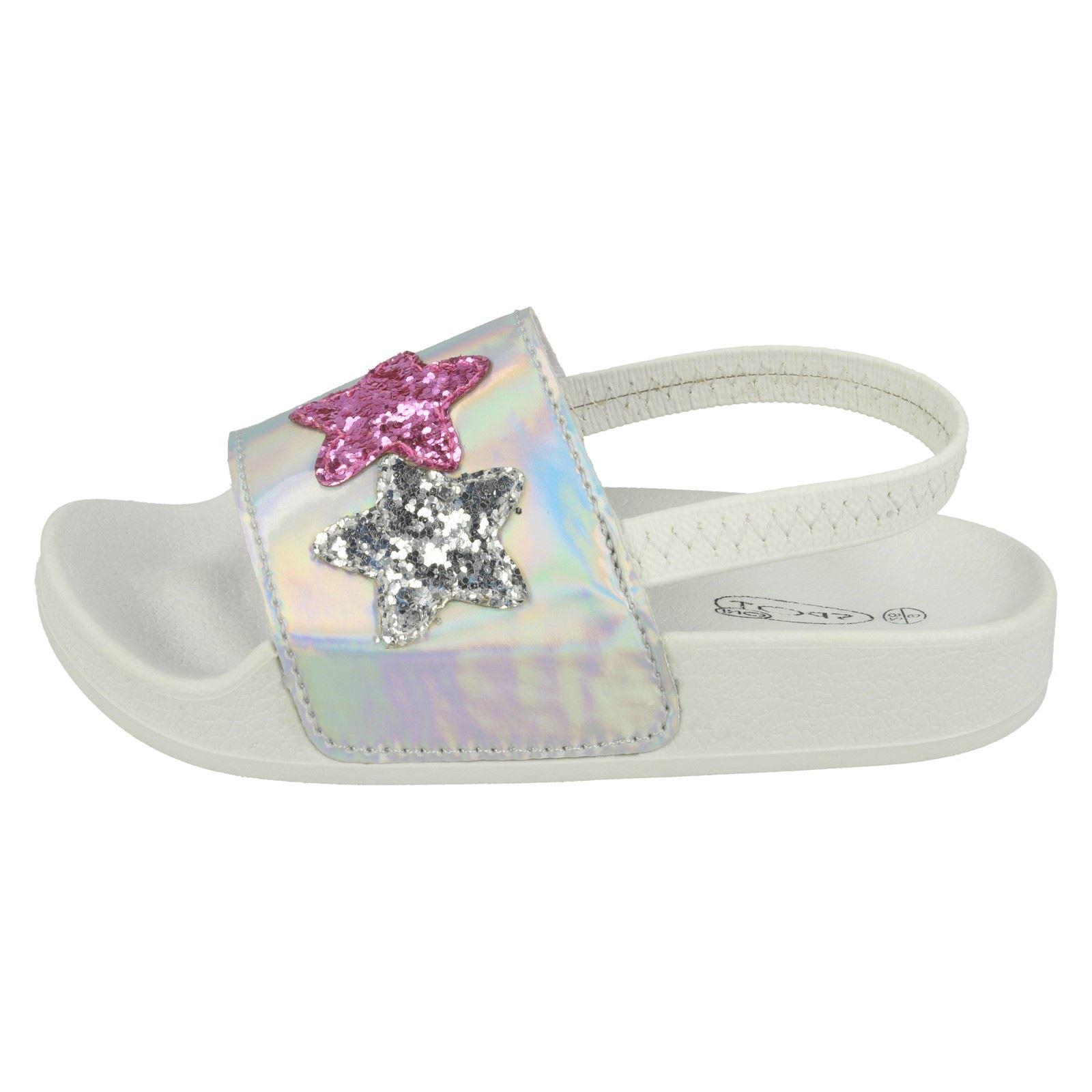 Girls Spot On With Glitter Star Design Slingback Sliders